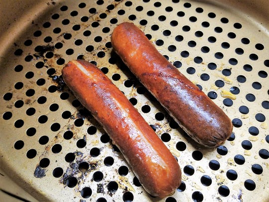 Just a few minutes in the air fryer and hot dogs are as brown and flavorful as if they came straight off a grill.