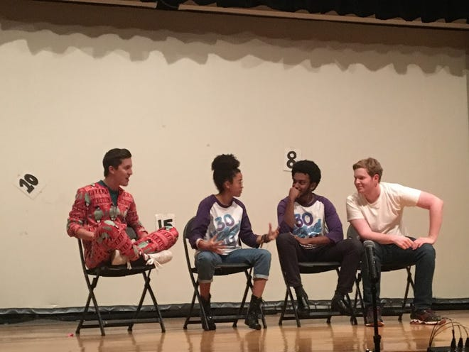 Members of 30 in 60 performing at the comedy showcase.