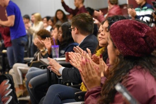 "Students share their concerns about the fraternity's controversial post and call the university administration to action during the ""Join the Conversation: Claiming our Shared Humanity"" event on Thursday, Dec. 6."