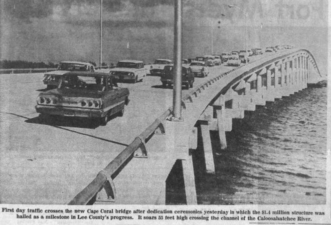 The Cape Coral Bridge was open for business on March 14, 1964, and was the key to the city's future growth. This photo appeared in the March 15, 1964, edition of The News-Press.