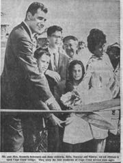The first residents of Cape Coral opened the bridge on March 14, 1964. The photo appeared in the March 15, 1964, edition of The News-Press.