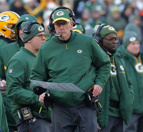 Green Bay Packers interim head coach Joe Philbin is shown during the third quarter of their game Sunday, December 9, 2018 at Lambeau Field in Green Bay, Wis. The Green Bay Packers beat the Atlanta Falcons 34-20.  MARK HOFFMAN/MILWAUKEE JOURNAL SENTINEL