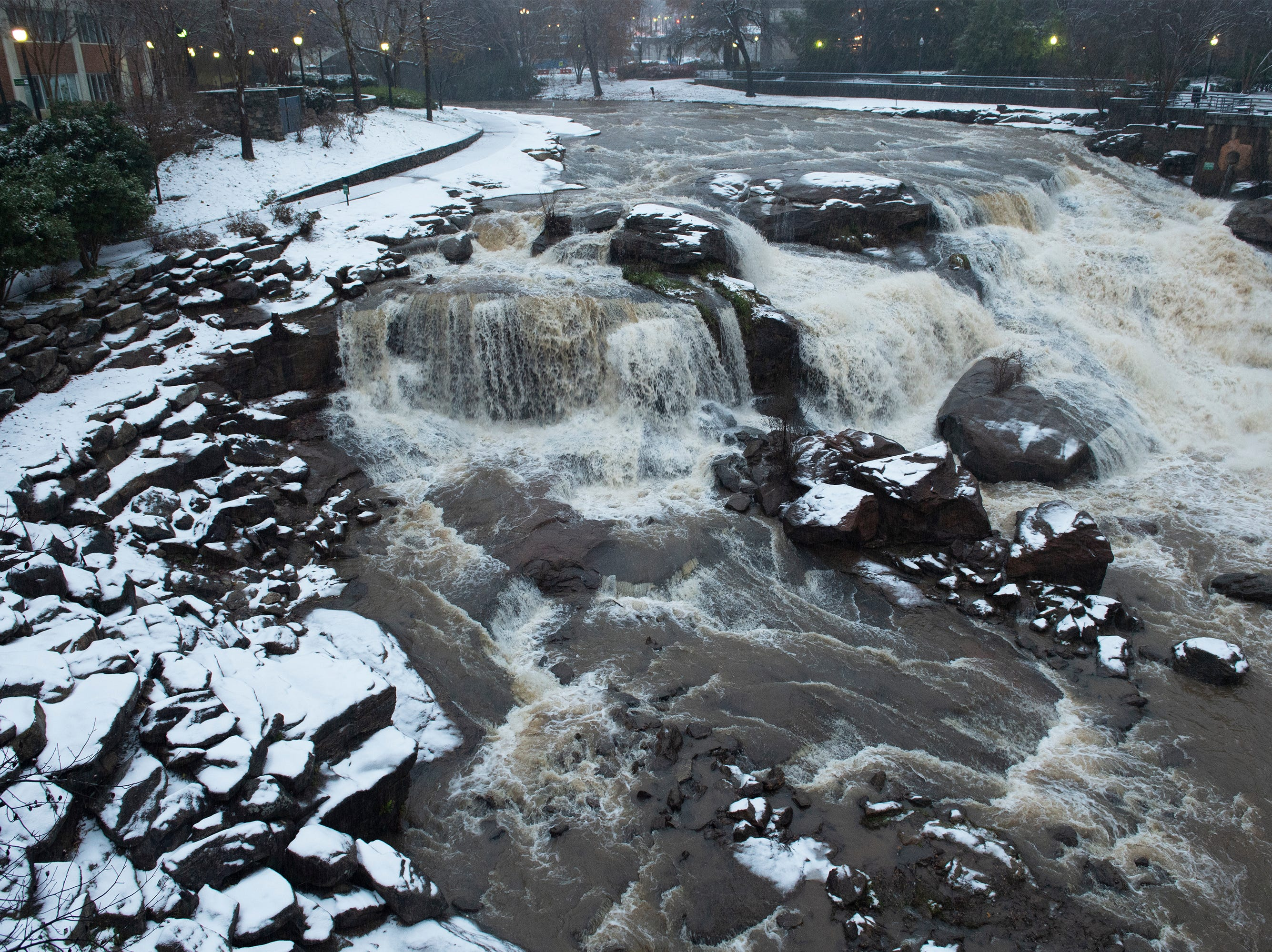 An icy mix falls at Falls Park on the Reddy Sunday, Dec. 09, 2018.