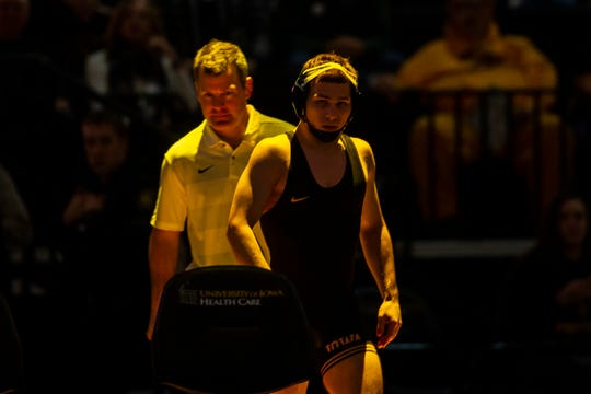 Iowa's Spencer Lee is introduced during a NCAA wrestling dual on Saturday, Dec. 8, 2018, at Carver-Hawkeye Arena in Iowa City.