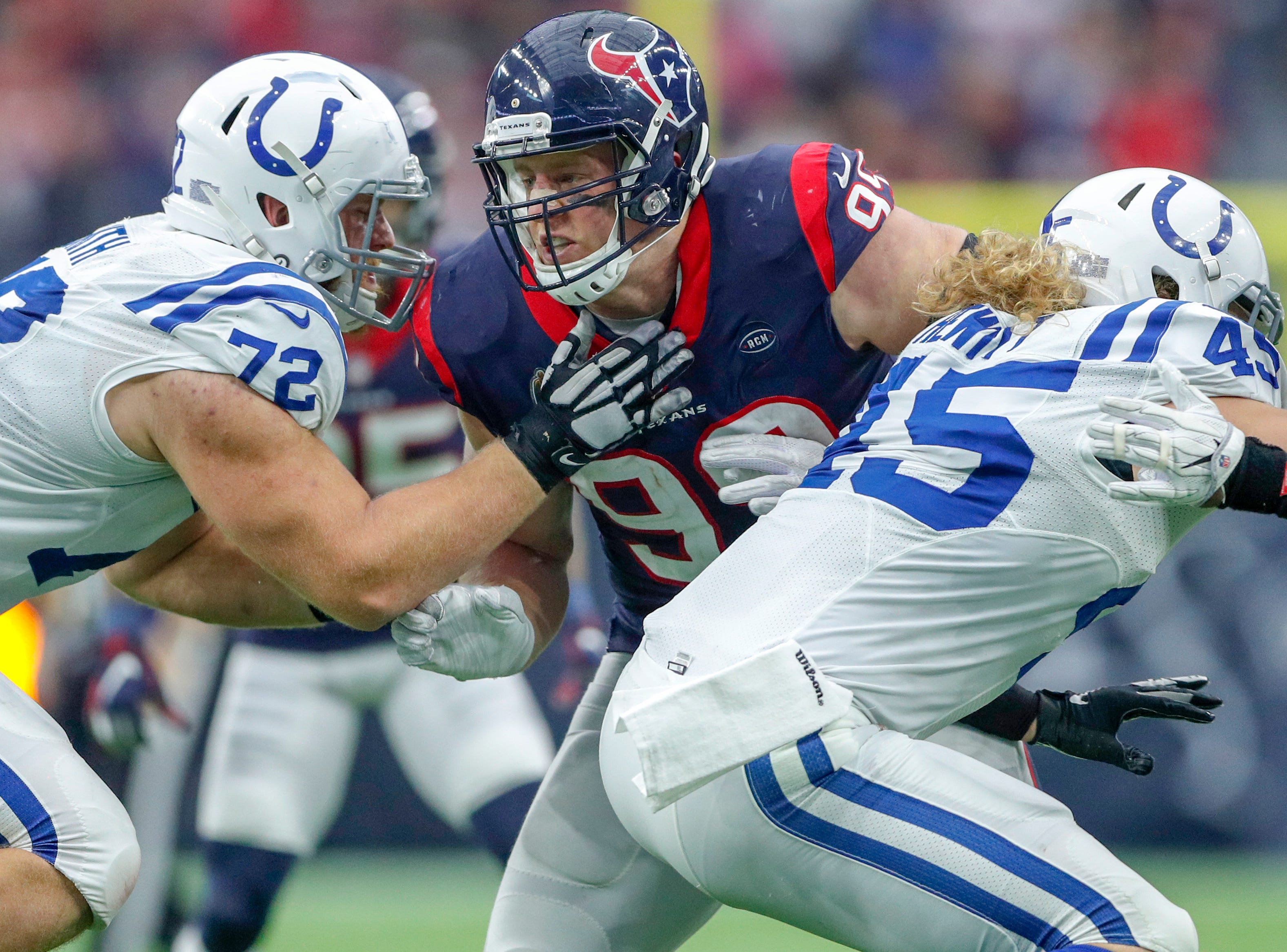 Houston Texans defensive end J.J. Watt (99) works against Indianapolis Colts offensive tackle Braden Smith (72) in the fourth quarter at NRG Stadium in Houston on Sunday, Dec. 9, 2018.