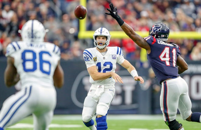 Indianapolis Colts quarterback Andrew Luck (12) throws to tight end Erik Swoope (86) on third down against the Houston Texans at NRG Stadium in Houston on Sunday, Dec. 9, 2018. Swoope was not able to pull in the catch.