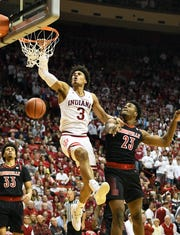 Indiana Hoosiers forward Justin Smith (3) dunks the ball during the game against Louisville at Simon Skjodt Assembly Hall in Bloomington, Ind., on Saturday, Dec. 8, 2018.