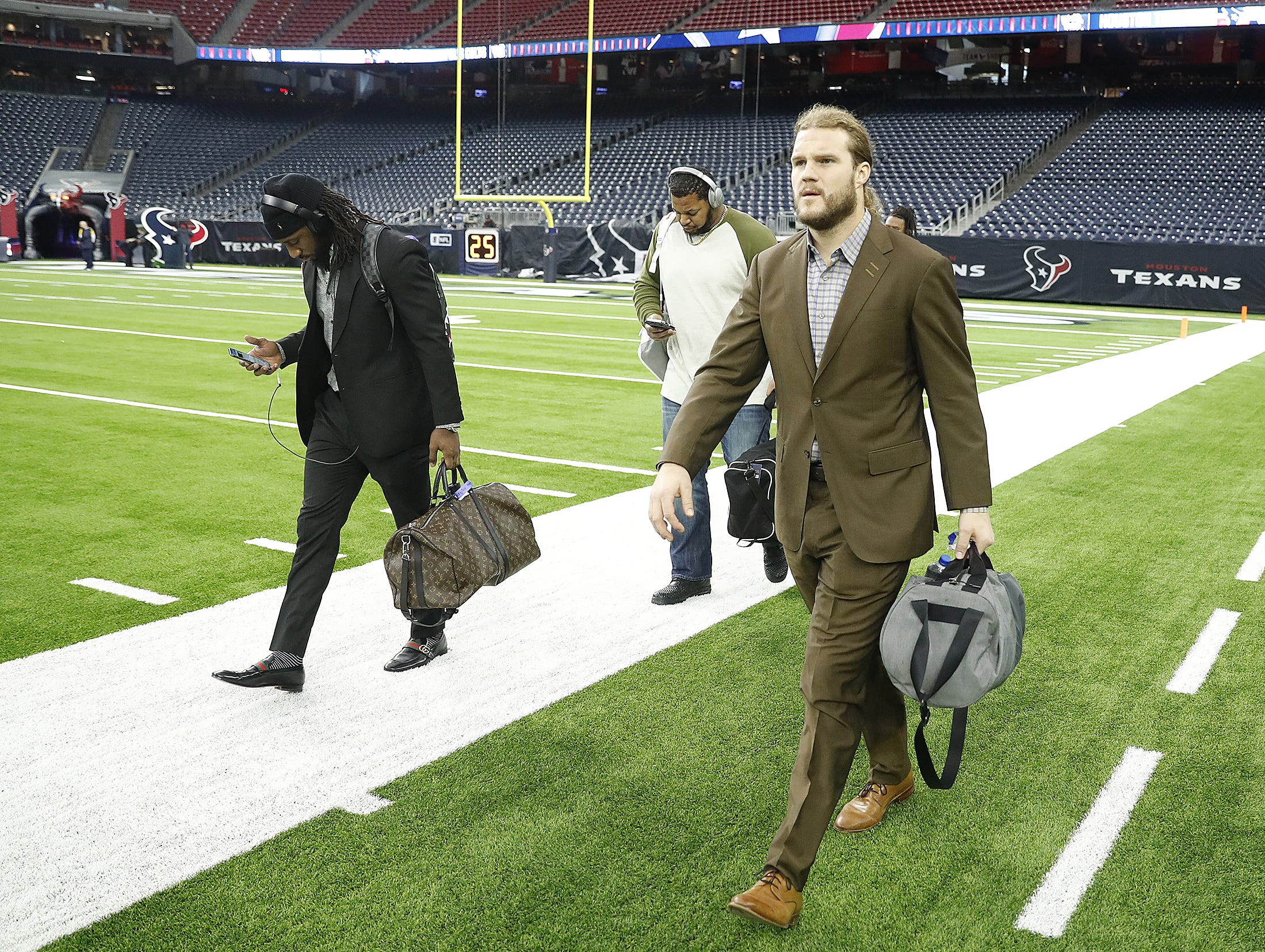 Indianapolis Colts players arrive before the start of their game against the Houston Texans at NRG Stadium in Houston, TX., on Sunday, Dec. 9, 2018.