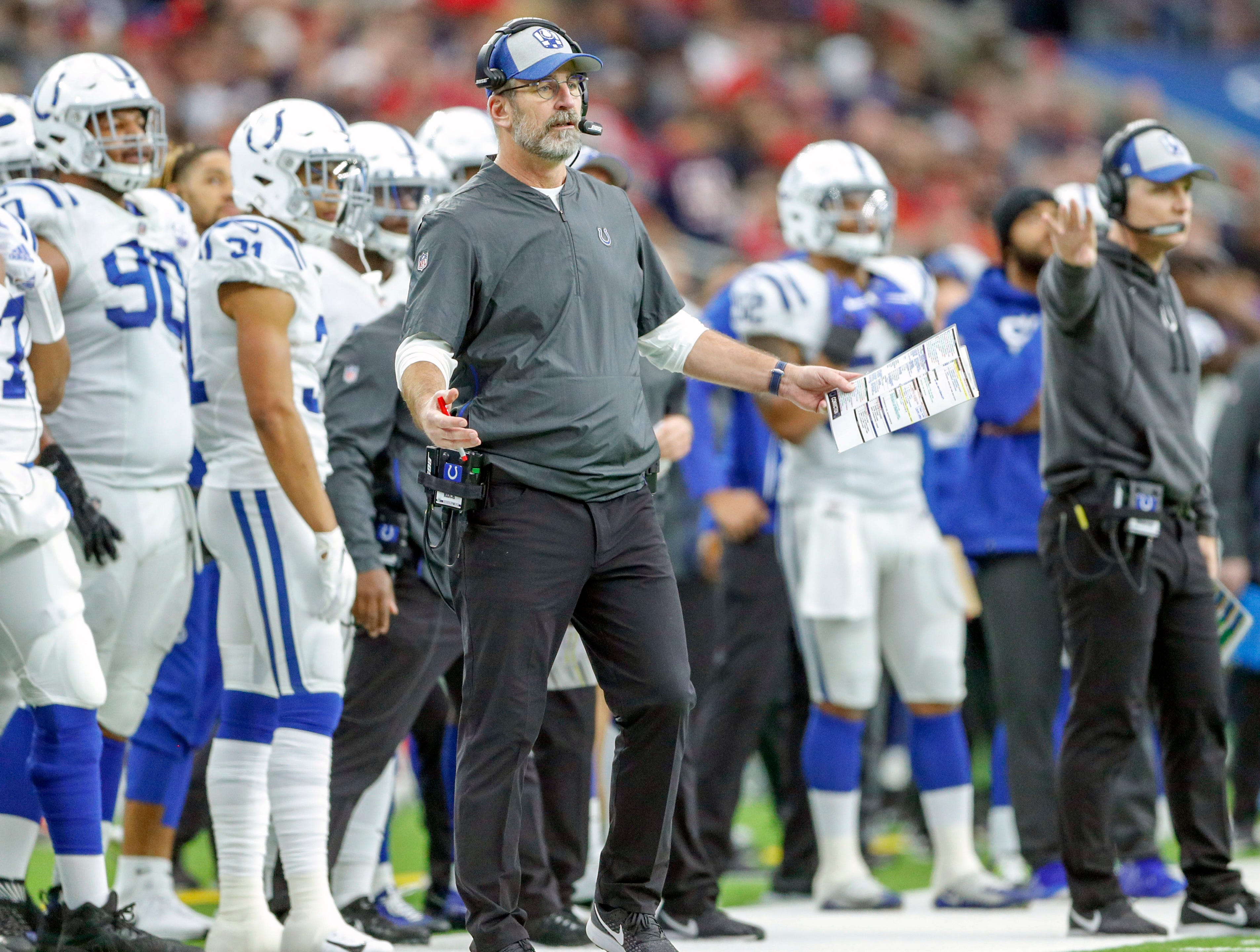 Indianapolis Colts head coach Frank Reich questions a call in the third quarter at NRG Stadium in Houston on Sunday, Dec. 9, 2018.