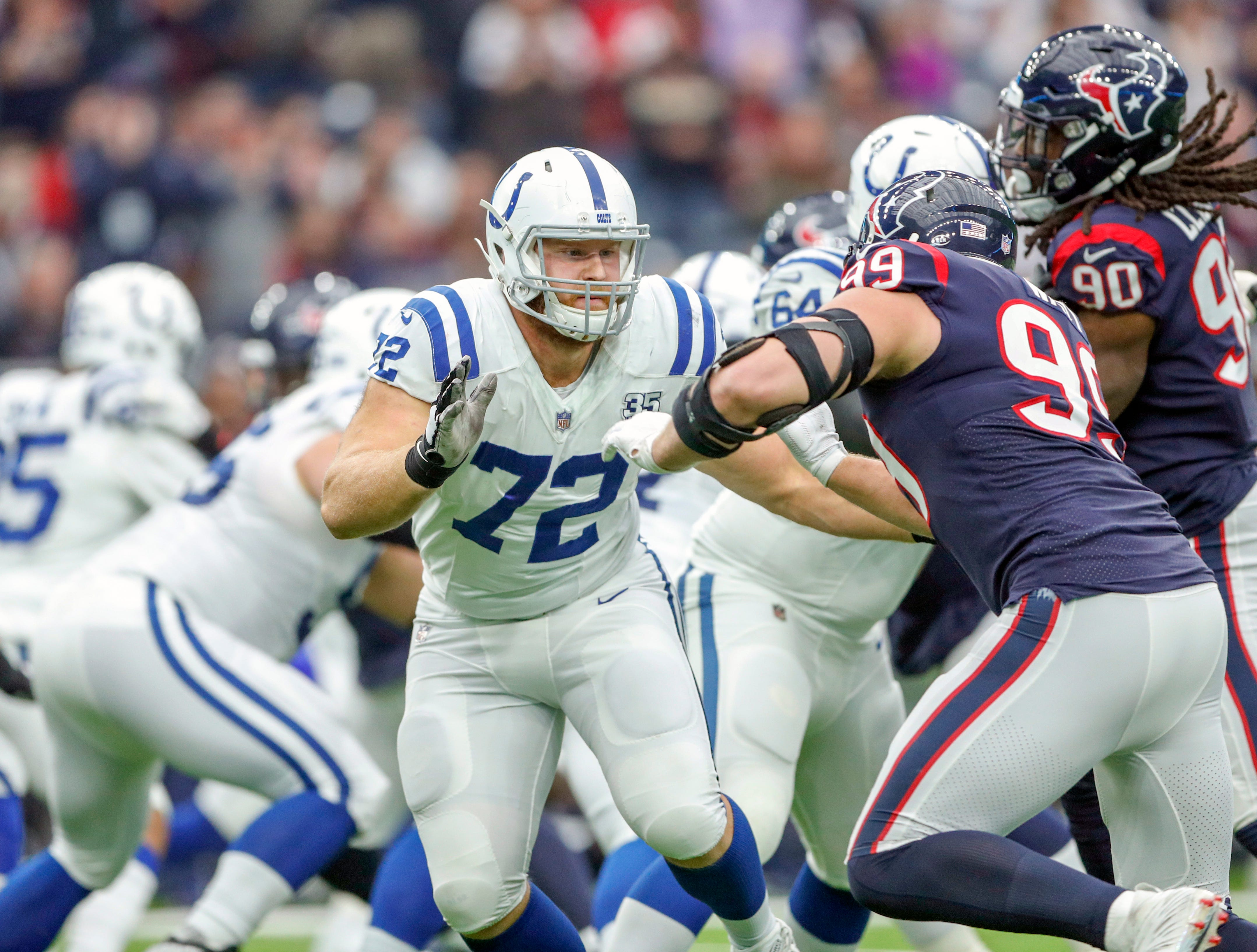 Indianapolis Colts offensive tackle Braden Smith (72) blocks against Houston Texans defensive end J.J. Watt (99) at NRG Stadium in Houston on Sunday, Dec. 9, 2018.