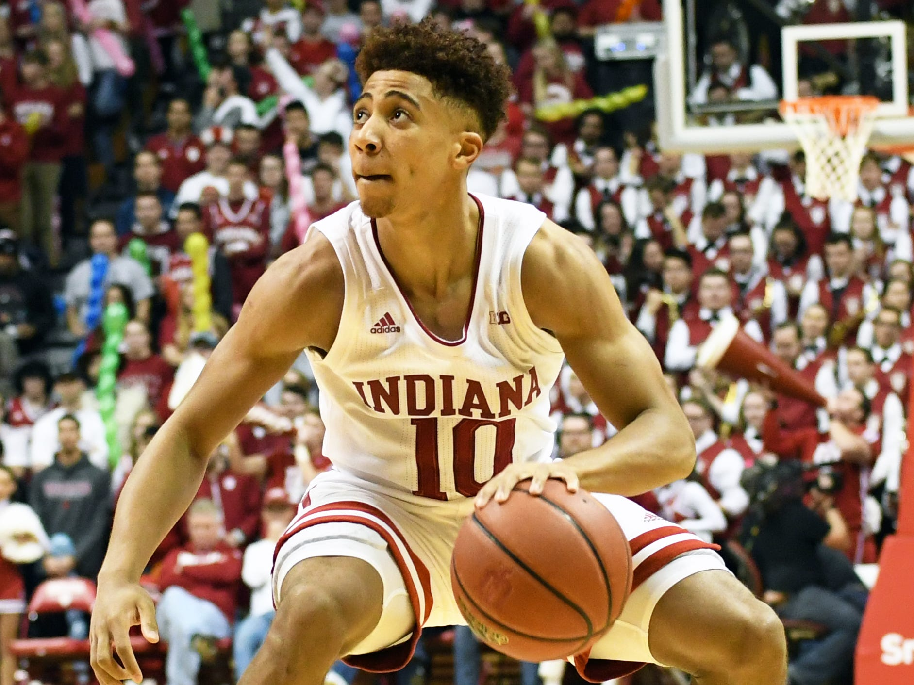 Indiana Hoosiers guard Rob Phinisee (10) looks at the shot clock during the game against Louisville at Simon Skjodt Assembly Hall in Bloomington.
