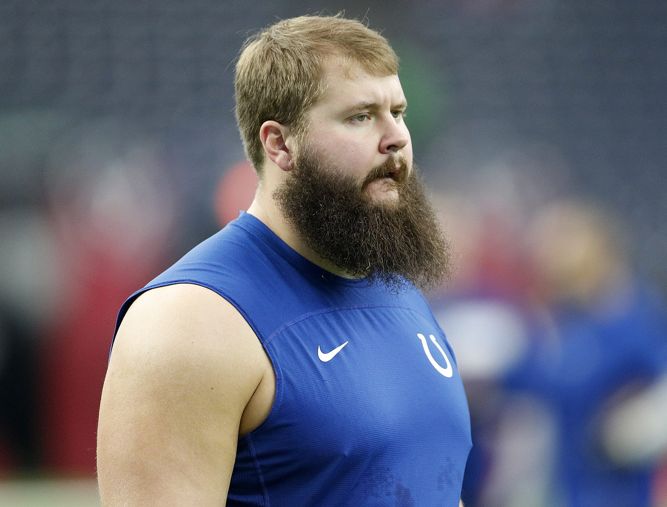 Indianapolis Colts offensive guard Mark Glowinski (64) before the start of their game against the Houston Texans at NRG Stadium in Houston, TX., on Sunday, Dec. 9, 2018.