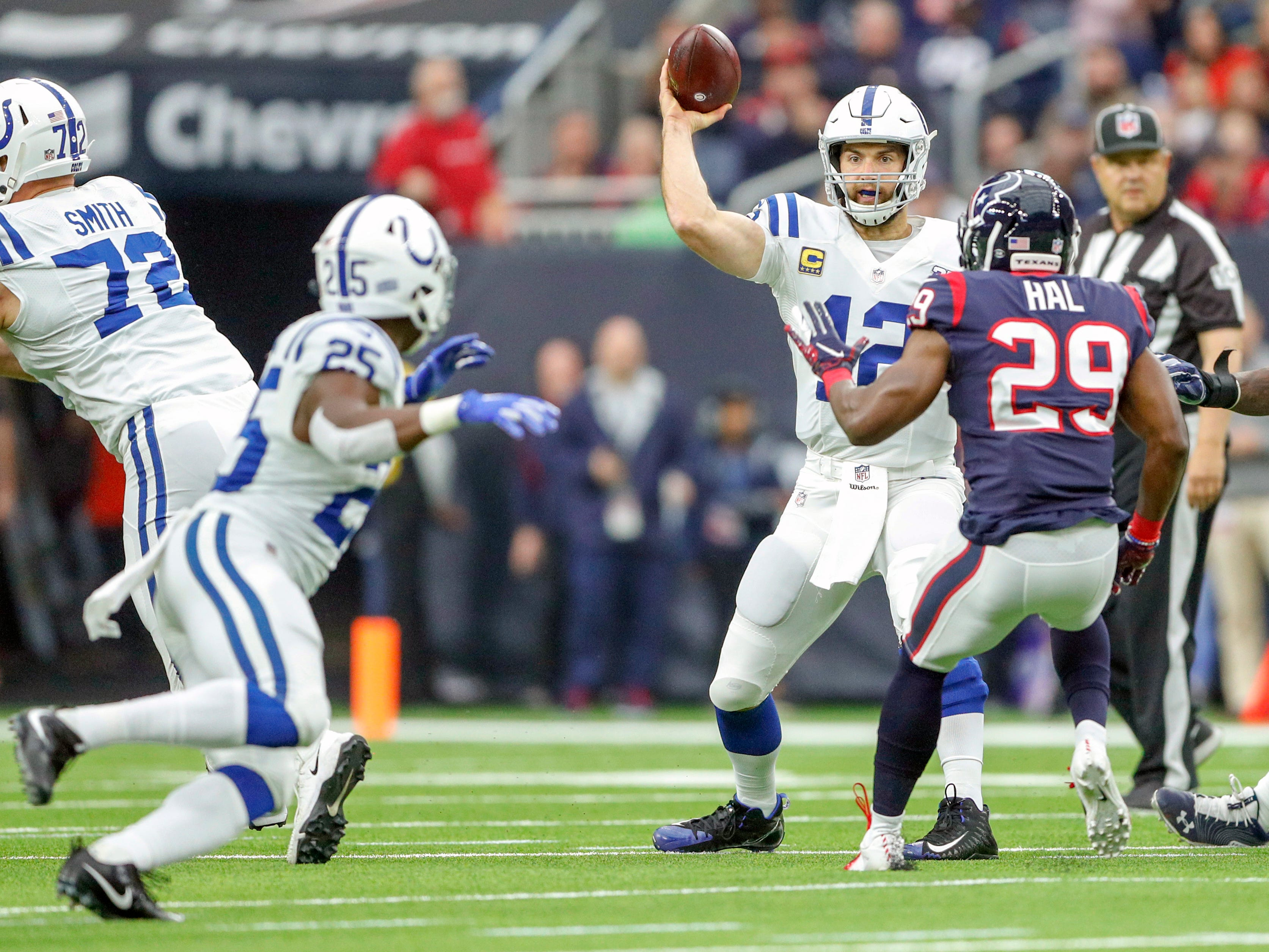 Houston Texans defensive back Andre Hal (29) rushes and is able to knock down a pass to Indianapolis Colts running back Marlon Mack (25) by quarterback Andrew Luck (12) at NRG Stadium in Houston on Sunday, Dec. 9, 2018.