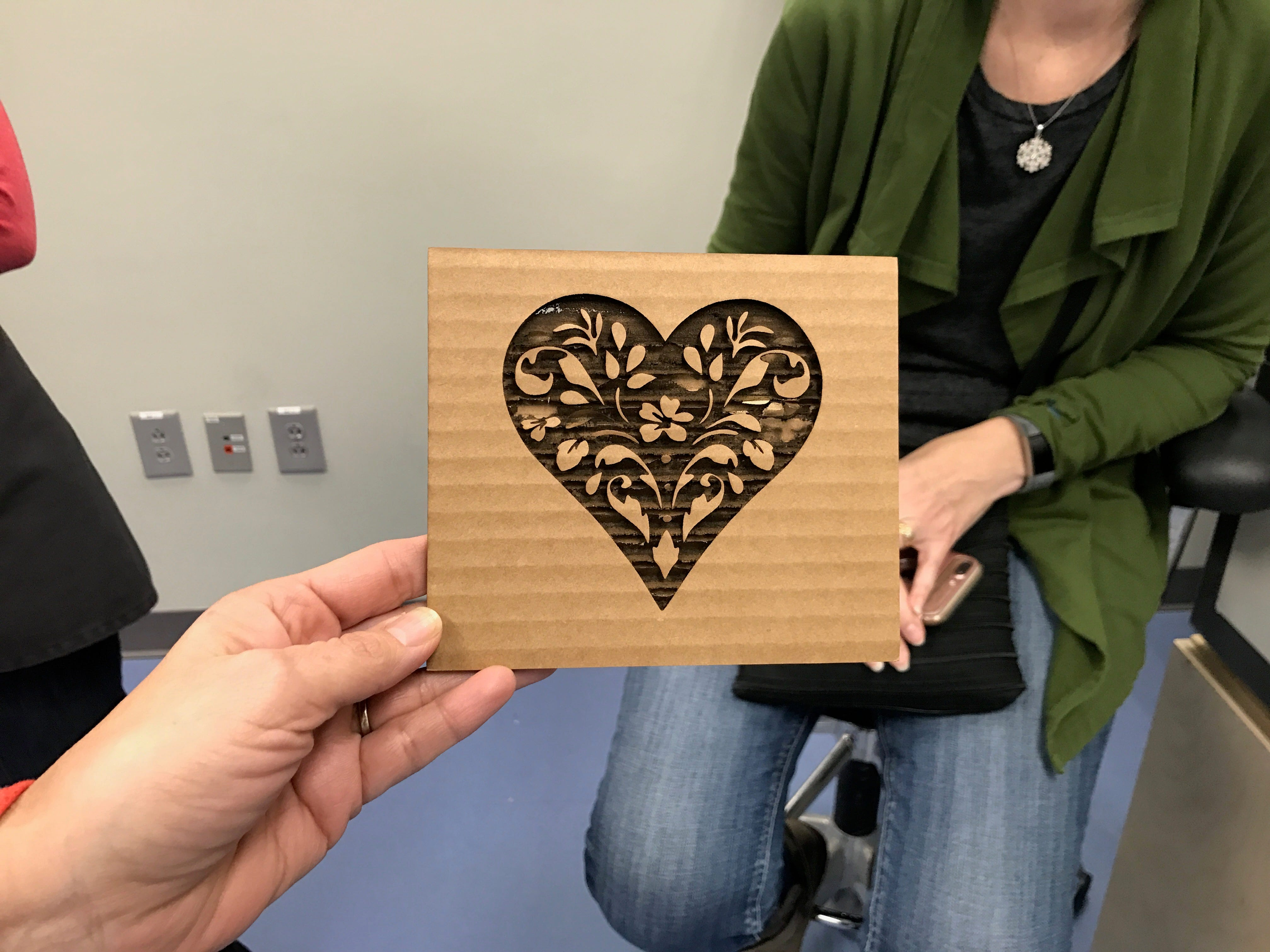 A decoration created with a laser engraver at Ignite Art Studio and Makerspace in Fishers