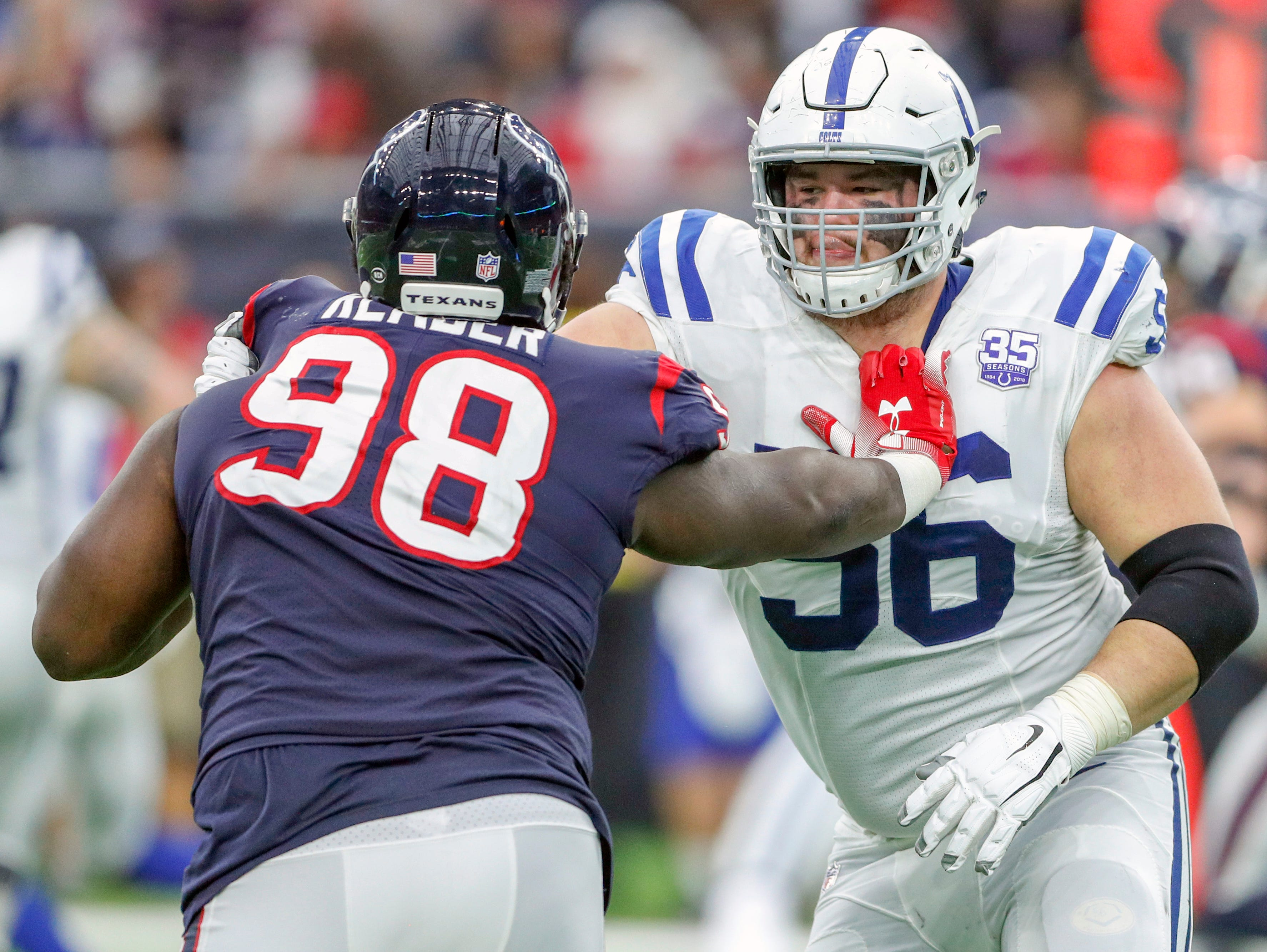 Indianapolis Colts offensive guard Quenton Nelson (56) blocks Houston Texans defensive end D.J. Reader (98) in the third quarter at NRG Stadium in Houston on Sunday, Dec. 9, 2018.