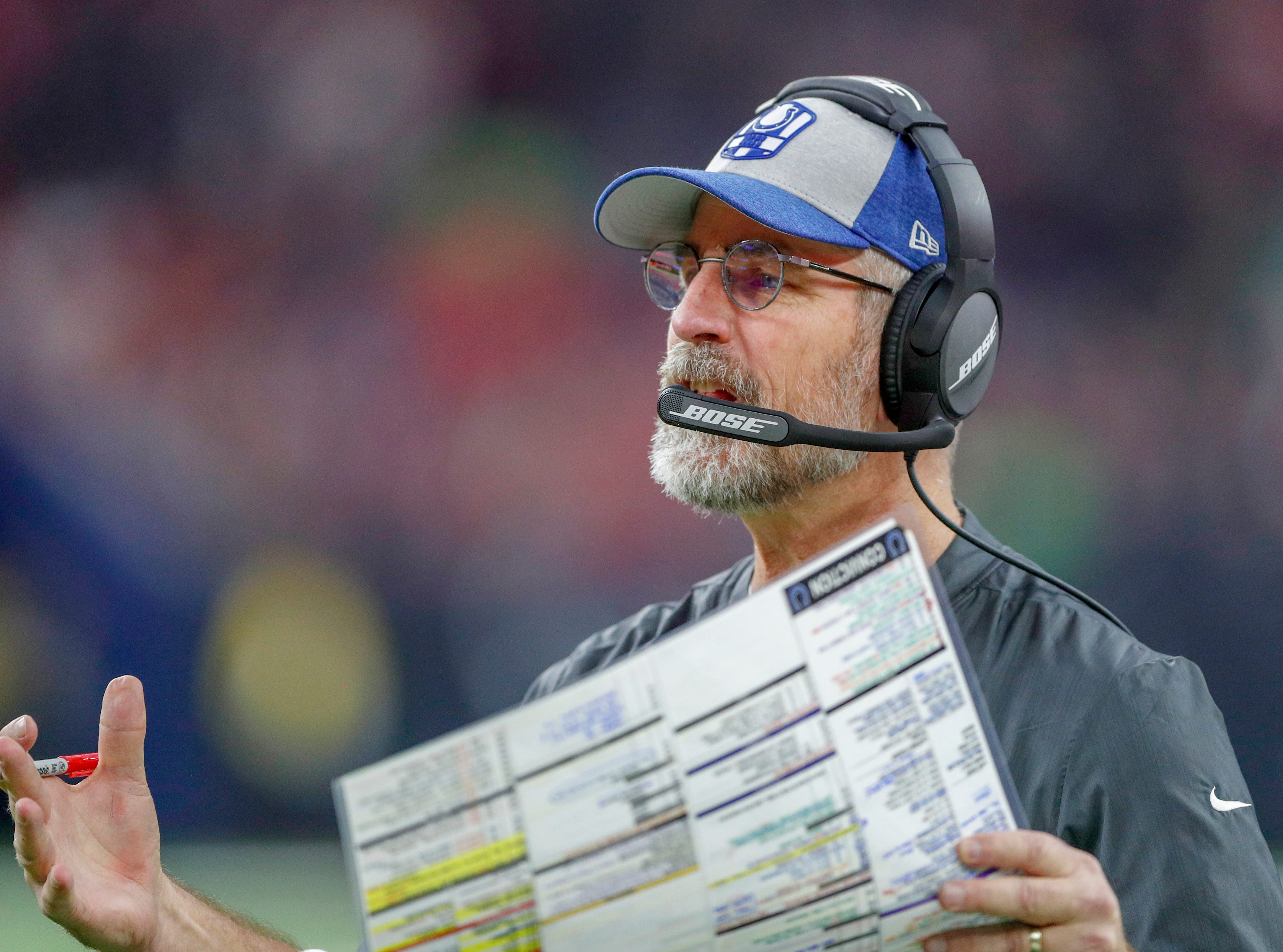 Indianapolis Colts head coach Frank Reich watches the action on the field against the Houston Texans in the fourth quarter at NRG Stadium in Houston on Sunday, Dec. 9, 2018.