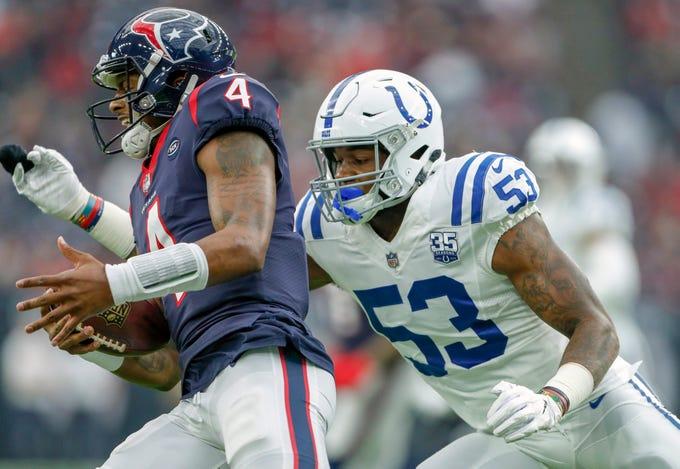 Indianapolis Colts outside linebacker Darius Leonard (53) brings the pressure against Houston Texans quarterback Deshaun Watson (4) at NRG Stadium in Houston on Sunday, Dec. 9, 2018.