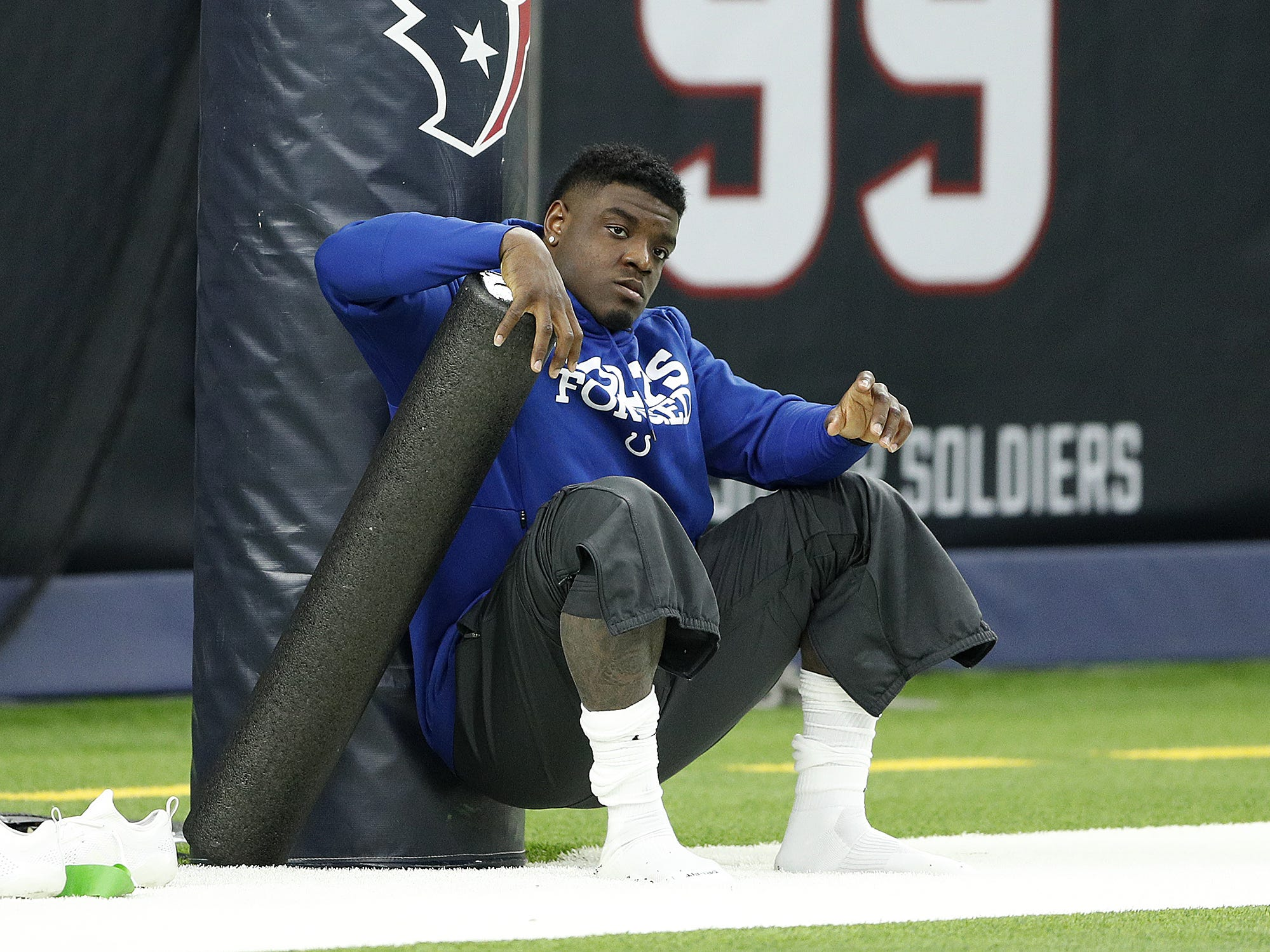 Indianapolis Colts outside linebacker Matthew Adams (49) before the start of their game against the Houston Texans at NRG Stadium in Houston, TX., on Sunday, Dec. 9, 2018.