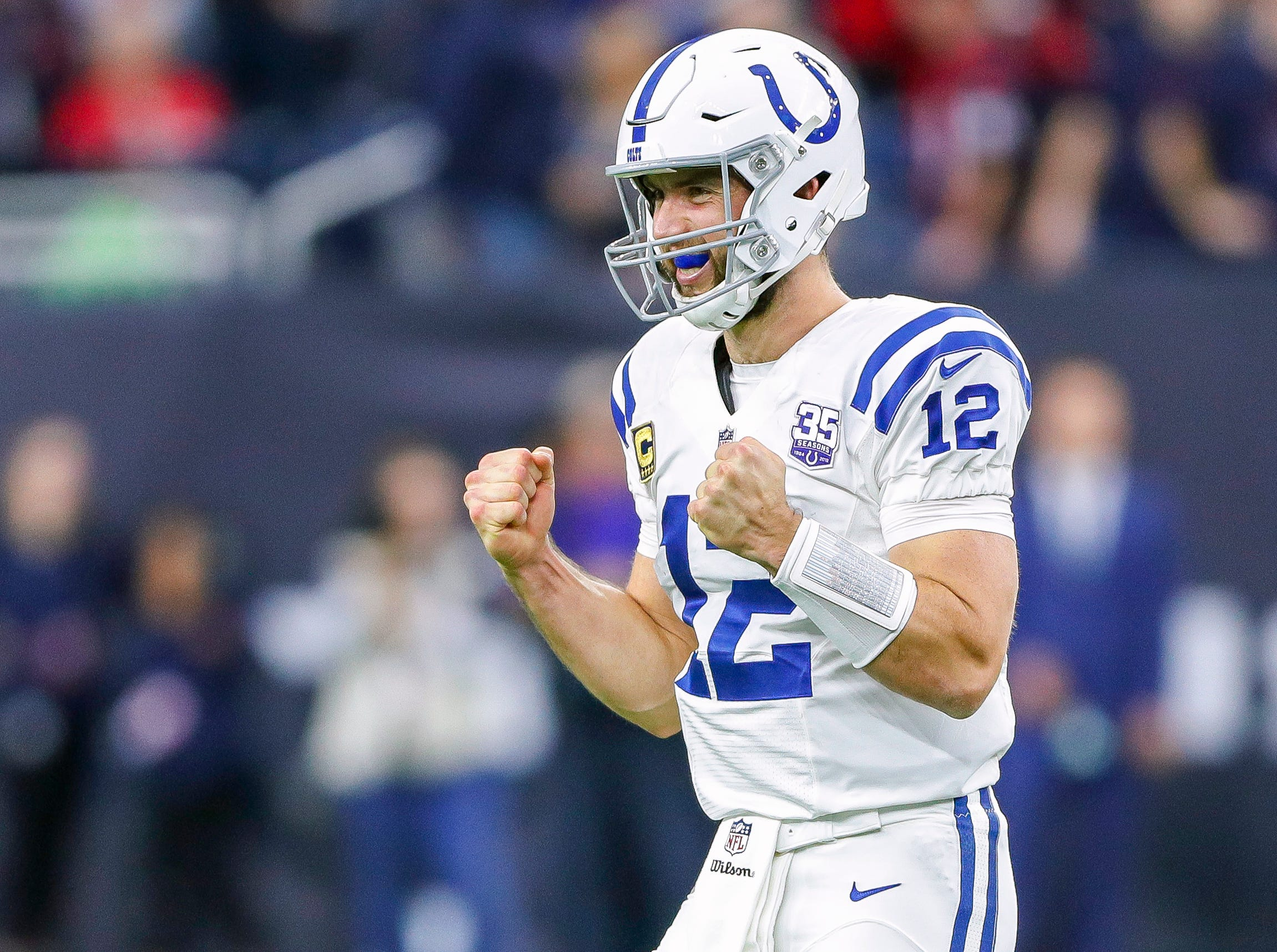 Indianapolis Colts quarterback Andrew Luck (12) shows his emotions after the Houston Texans jump offsides near the end of the fourth quarter at NRG Stadium in Houston on Sunday, Dec. 9, 2018. The penalty allowed the Colts to kneel to run out the clock.