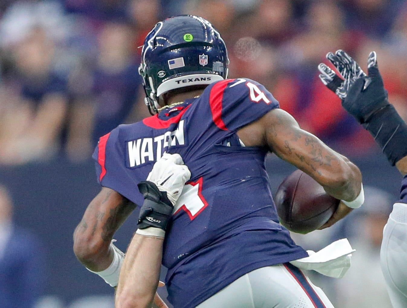 Indianapolis Colts defensive end Margus Hunt (92) sacks Houston Texans quarterback Deshaun Watson (4) in the fourth quarter at NRG Stadium in Houston on Sunday, Dec. 9, 2018.