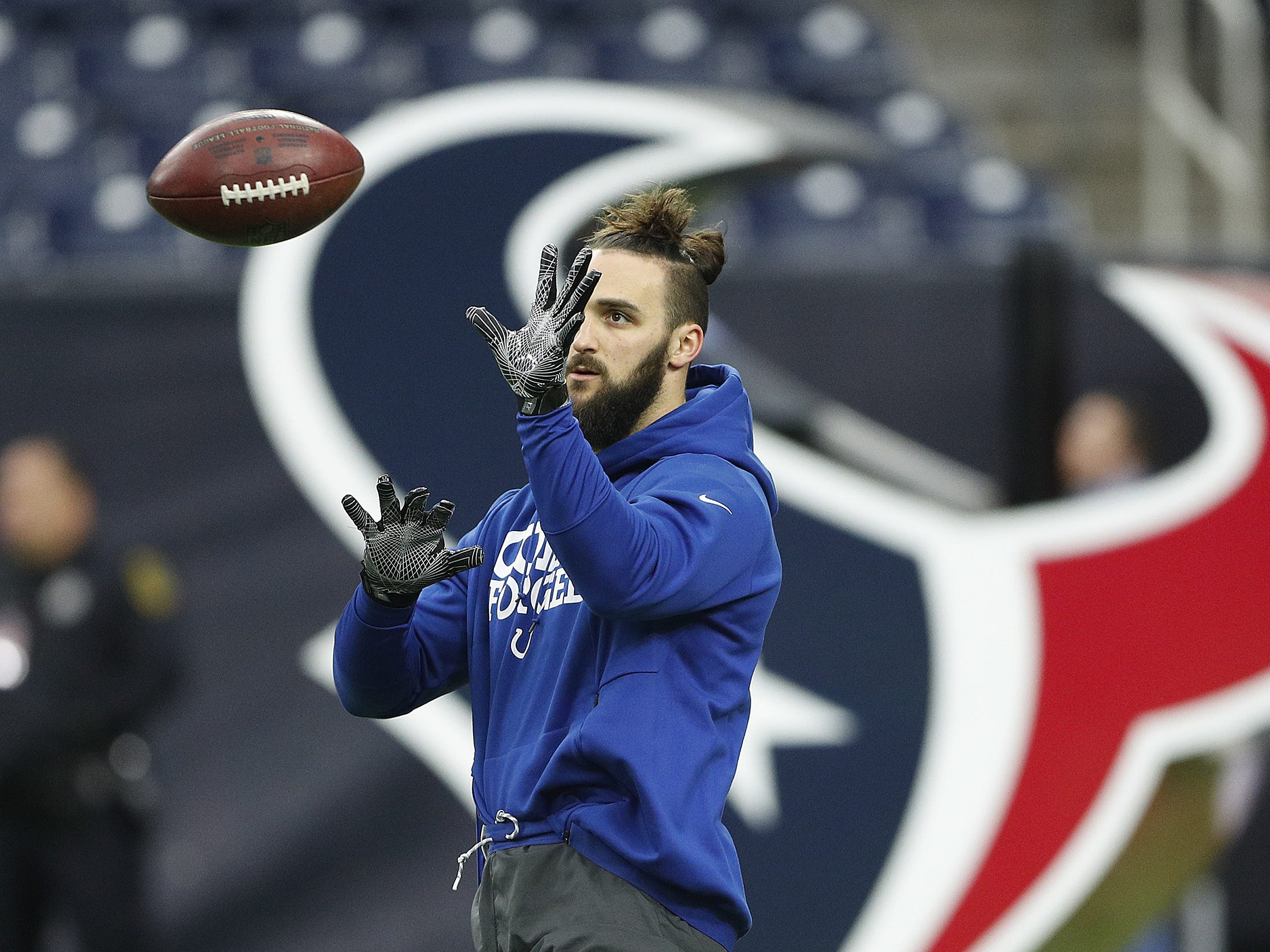 Indianapolis Colts long snapper Luke Rhodes (46) before the start of their game against the Houston Texans at NRG Stadium in Houston, TX., on Sunday, Dec. 9, 2018.