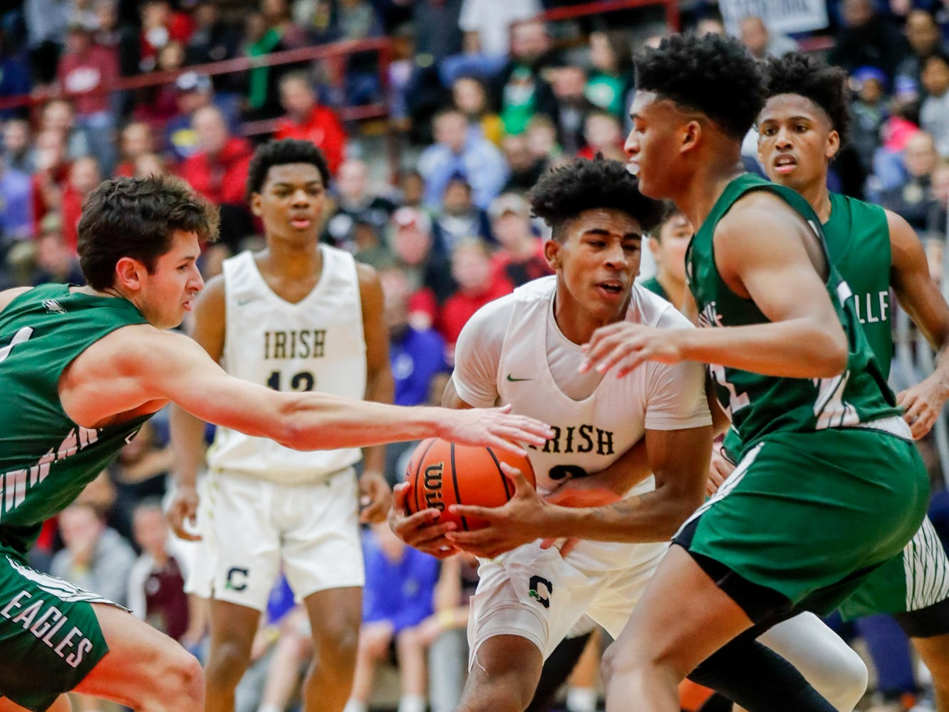 during a Tip Off Classic game between Cathedral High School and Zionsville Community High School, held at the Southport Fieldhouse, on Saturday, Dec. 8, 2018.