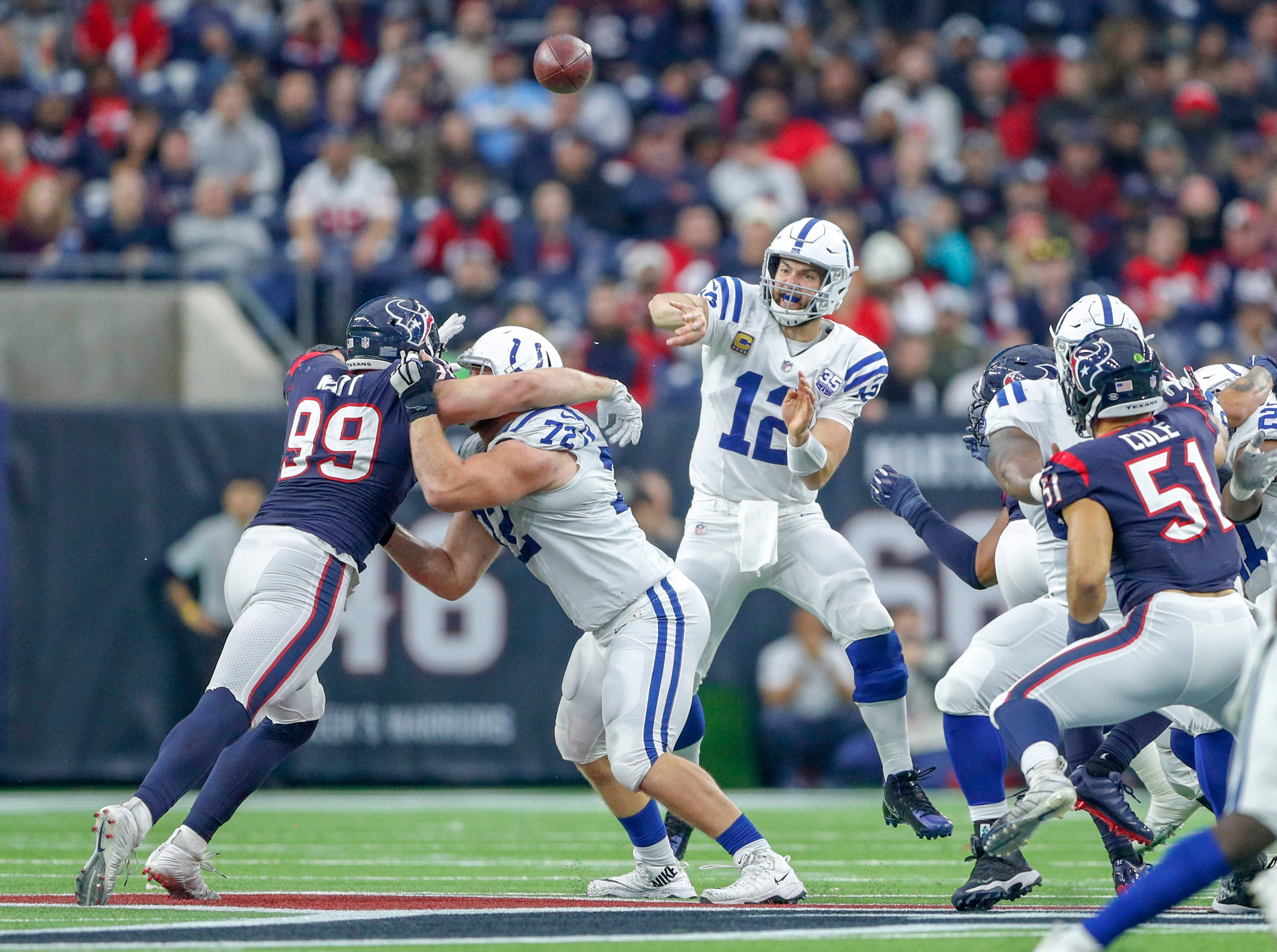 Indianapolis Colts quarterback Andrew Luck (12) throws against the Houston Texans in the fourth quarter at NRG Stadium in Houston on Sunday, Dec. 9, 2018.