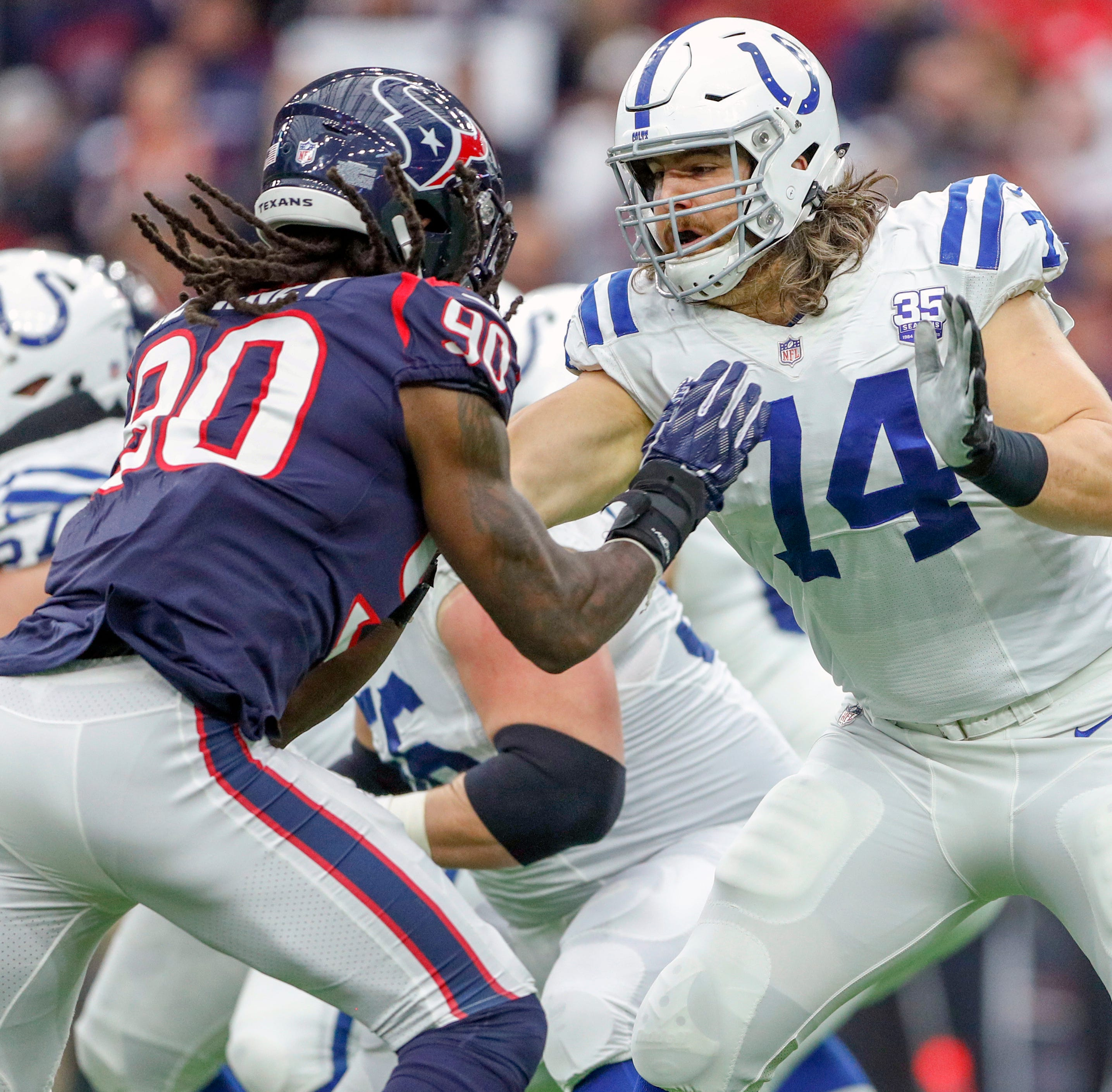 Colts' Andrew Luck draws Jadeveon Clowney offside to clinch Sunday's victory