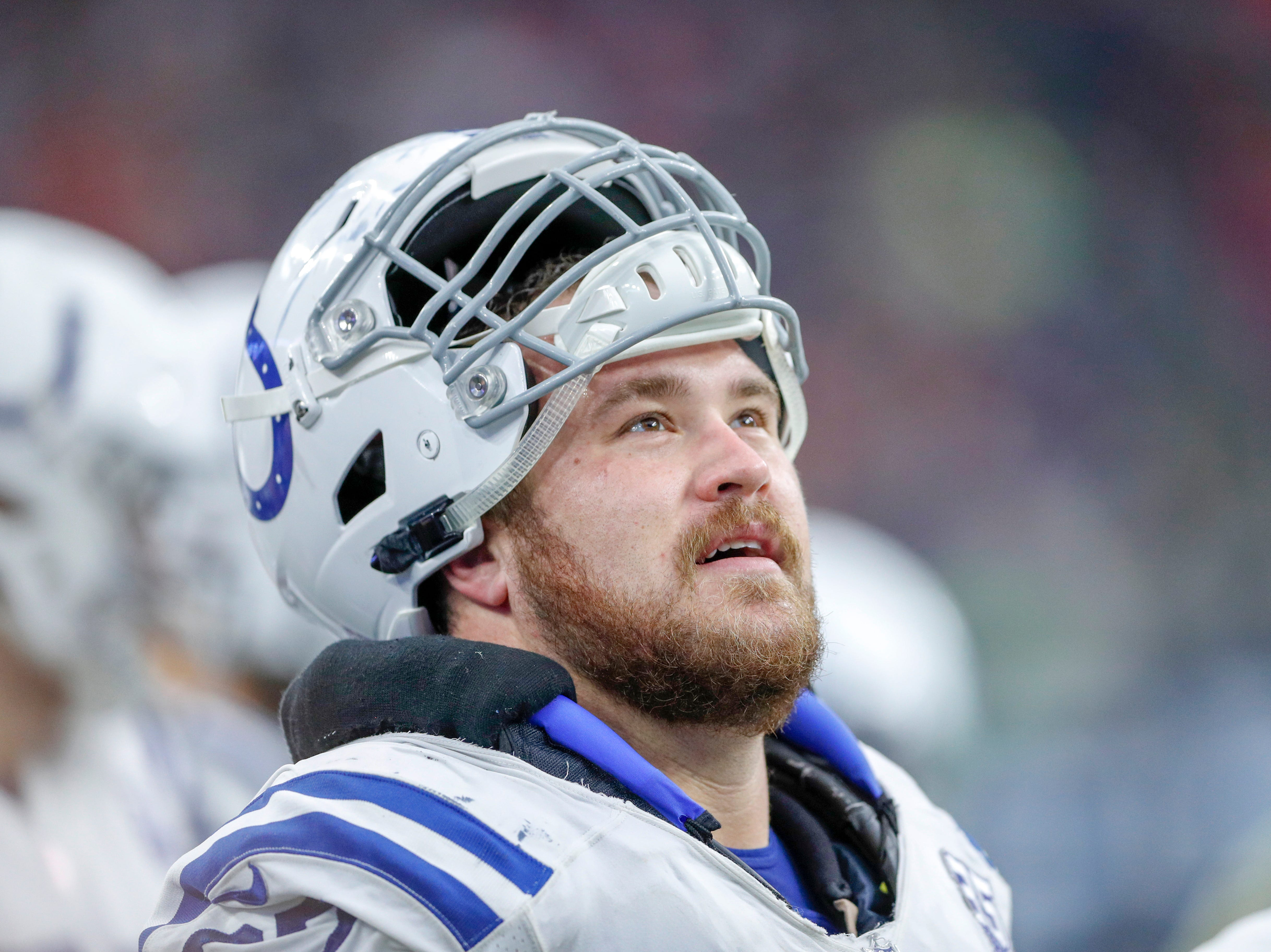 Indianapolis Colts offensive guard Evan Boehm (67) checks the scoreboard during the game against the Houston Texans in the third quarter at NRG Stadium in Houston on Sunday, Dec. 9, 2018.
