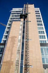 The Chauncey tower is seen while construction continues on Friday, Nov. 30, 2018, in downtown Iowa City.