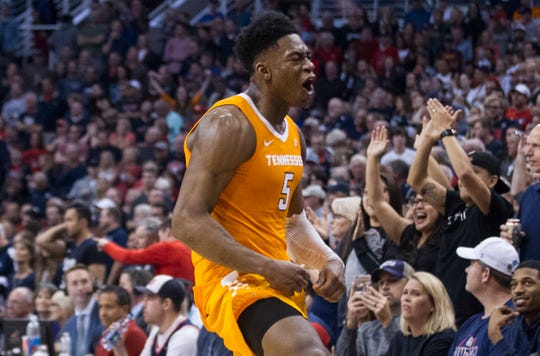Tennessee's Admiral Schofield (5) celebrates a win over Gonzaga in an NCAA college basketball game Sunday, Dec. 9, 2018, in Phoenix.
