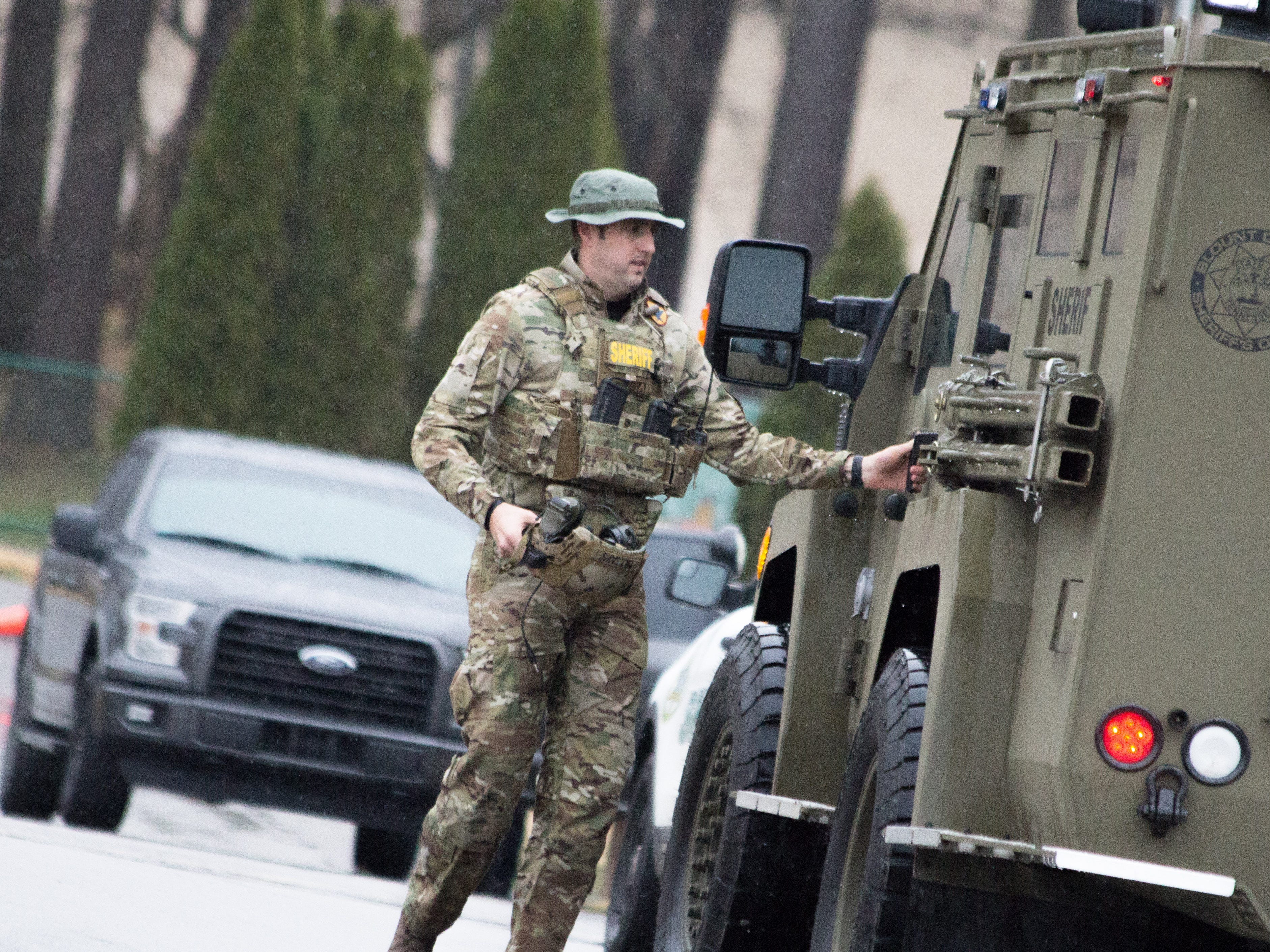 An officer parks a SWAT vehicle as officers prepare to make contact with a man during a fatal standoff at a Blount County apartment complex on Dec. 8, 2018. The man was shot at by officers before shooting himself.