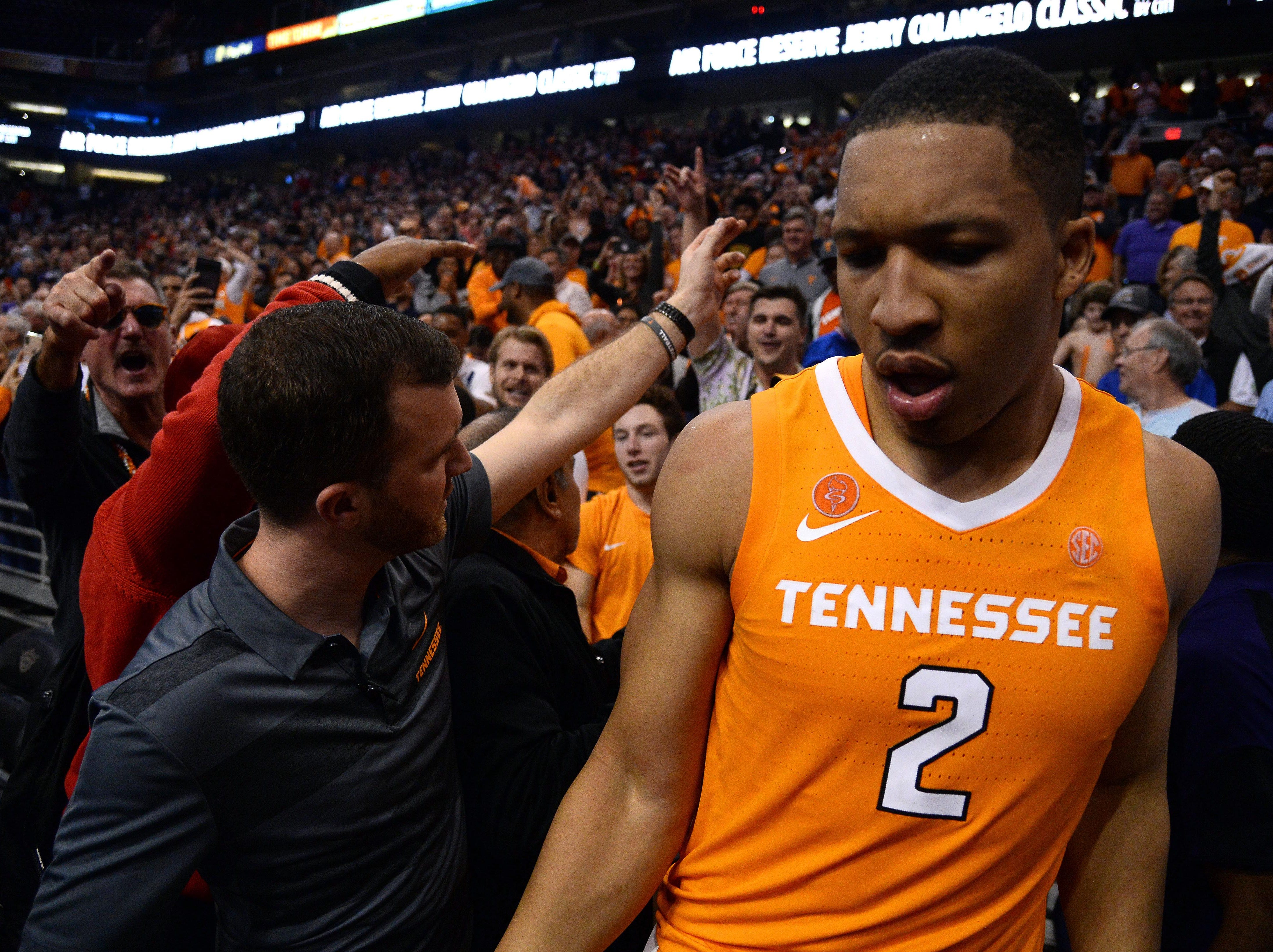 Dec 9, 2018; Phoenix, AZ, USA; Tennessee Volunteers forward Grant Williams (2) celebrates in the stands after defeating Gonzaga Bulldogs at Talking Stick Resort Arena.