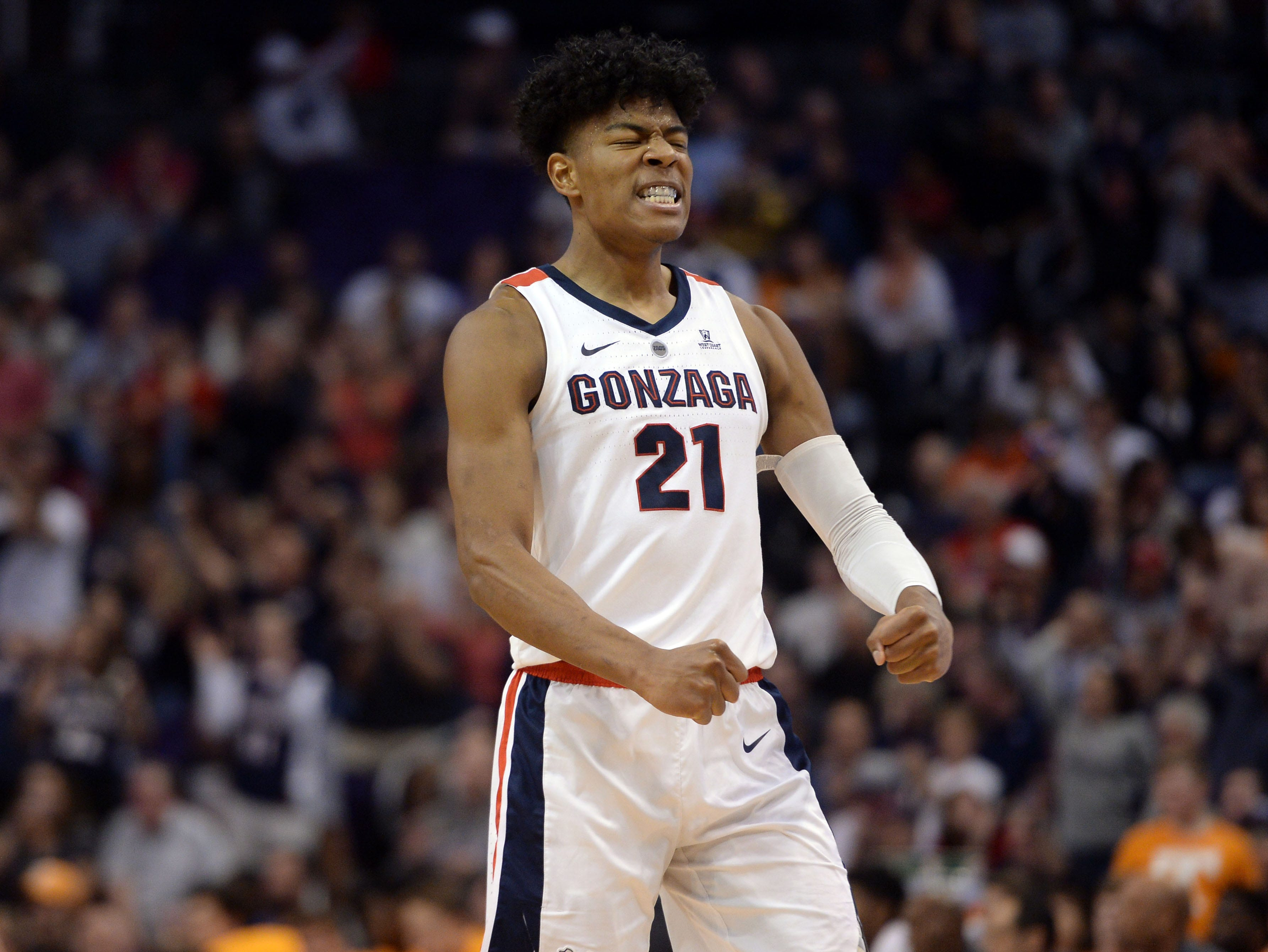 Dec 9, 2018; Phoenix, AZ, USA; Gonzaga Bulldogs forward Rui Hachimura (21) reacts against the Tennessee Volunteers during the first half at Talking Stick Resort Arena.