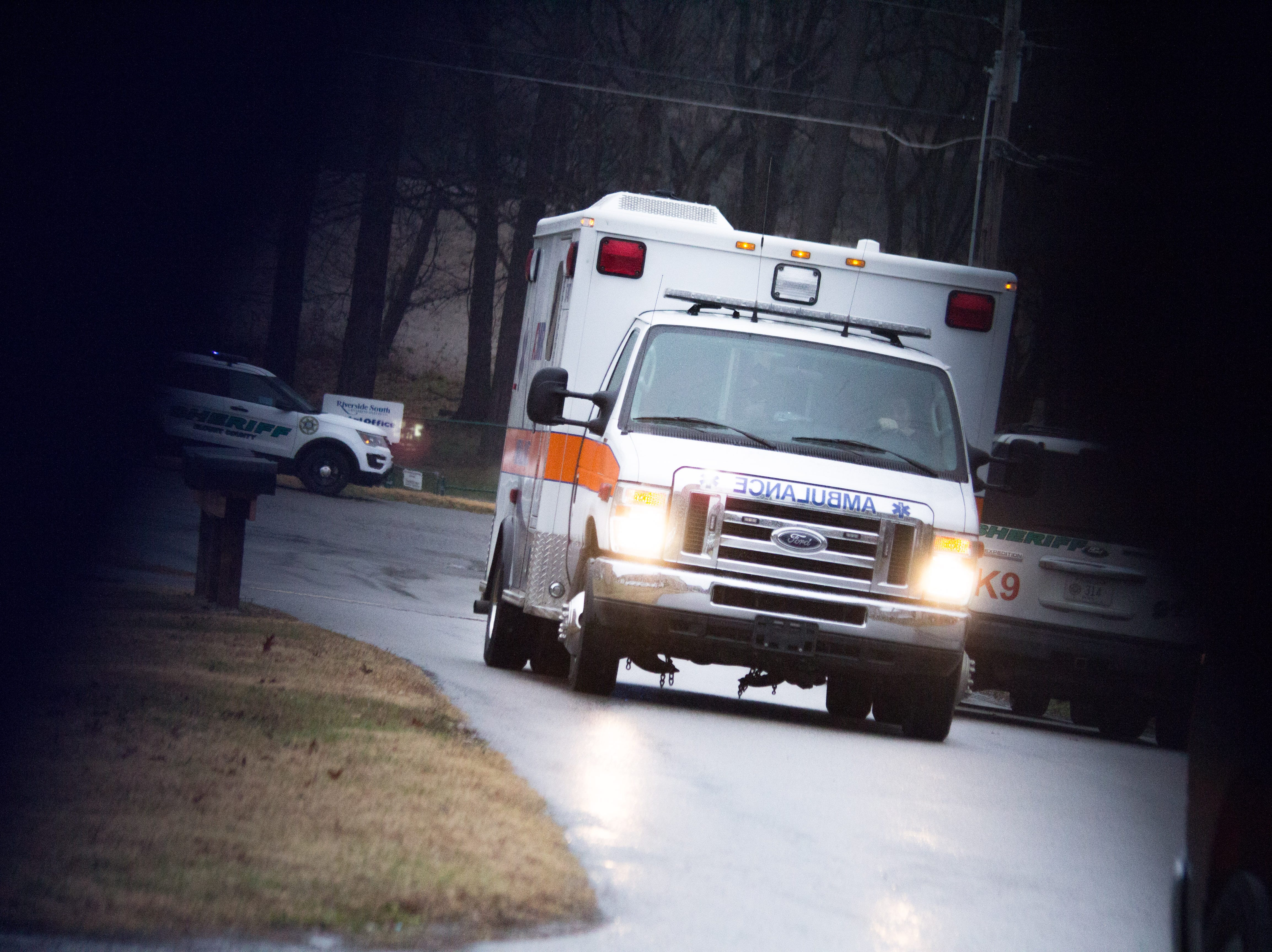 An ambulance leaves the scene of a fatal standoff in Blount County on Dec. 8, 2018. The man who was killed threatened to attempt suicide by cop earlier in the week.