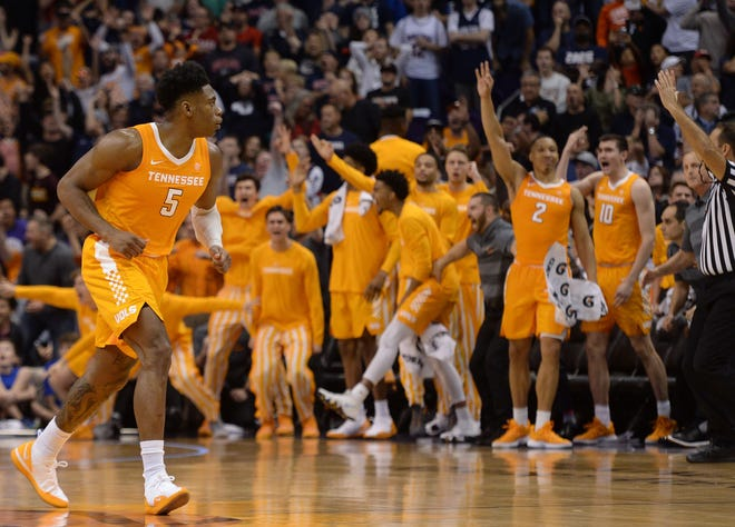 Vols guard Admiral Schofield (5) and the bench celebrate the go-ahead 3-pointer against the Gonzaga on Sunday.