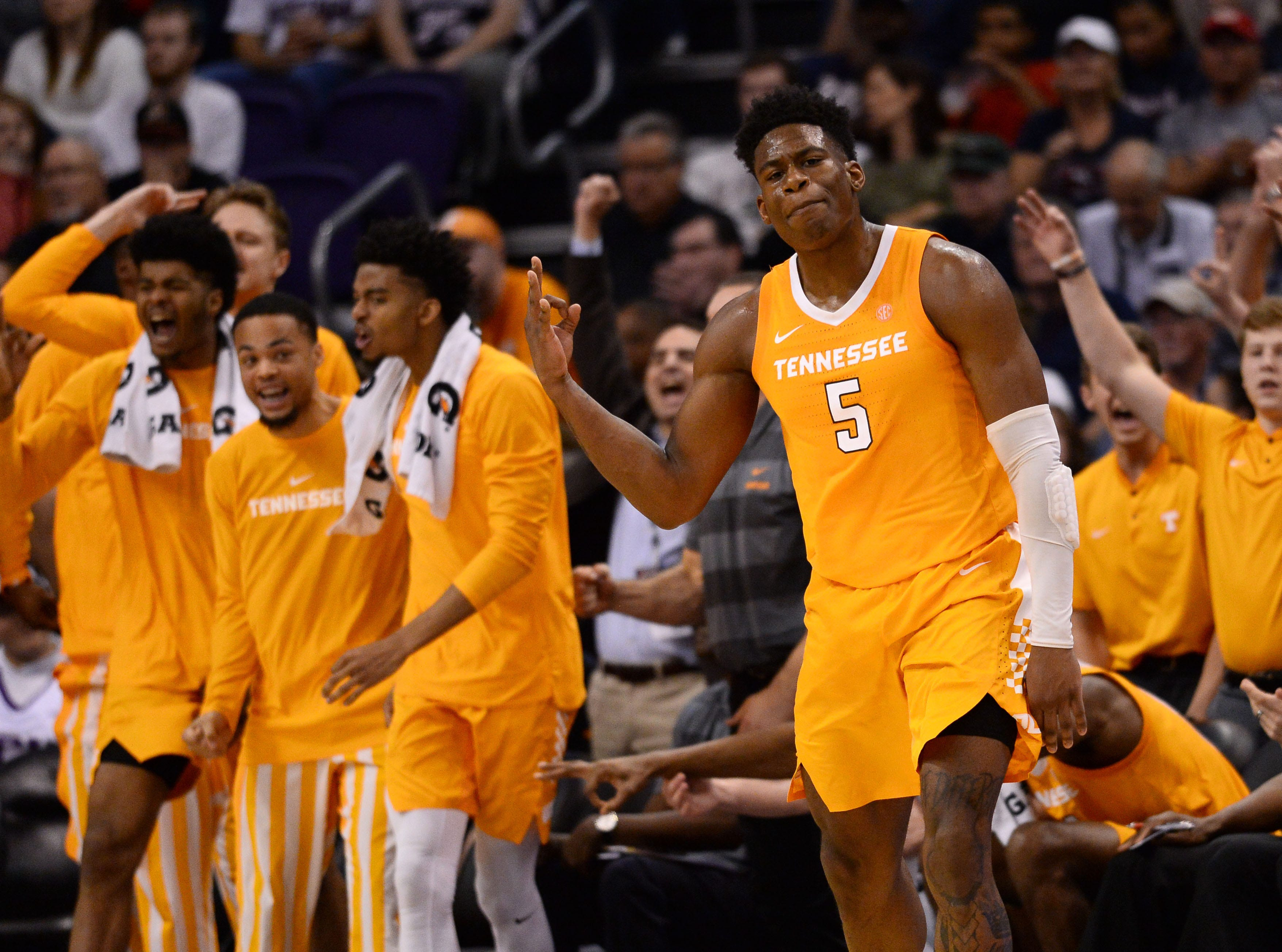 Dec 9, 2018; Phoenix, AZ, USA; Tennessee Volunteers guard Admiral Schofield (5) celebrates a three point basket against the Gonzaga Bulldogs during the second half at Talking Stick Resort Arena.
