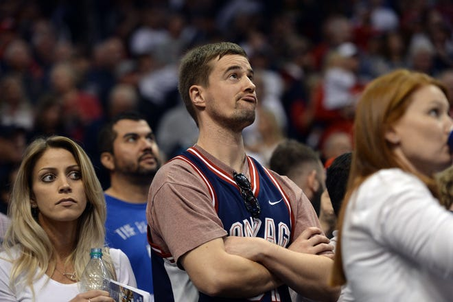 Dec 9, 2018; Phoenix, AZ, USA; A Gonzaga Bulldogs fan looks on against the Tennessee Volunteers during the second half at Talking Stick Resort Arena.