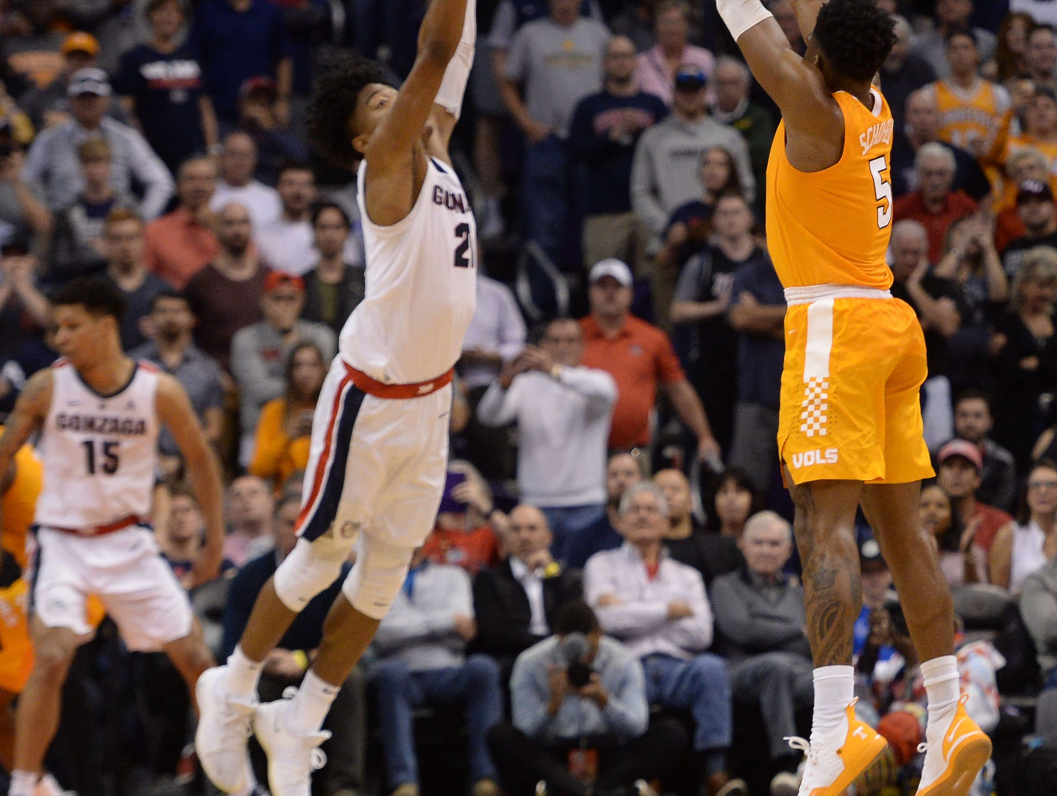 Dec 9, 2018; Phoenix, AZ, USA; Tennessee Volunteers guard Admiral Schofield (5) shoots the go-ahead three point basket against the Gonzaga Bulldogs during the second half at Talking Stick Resort Arena.