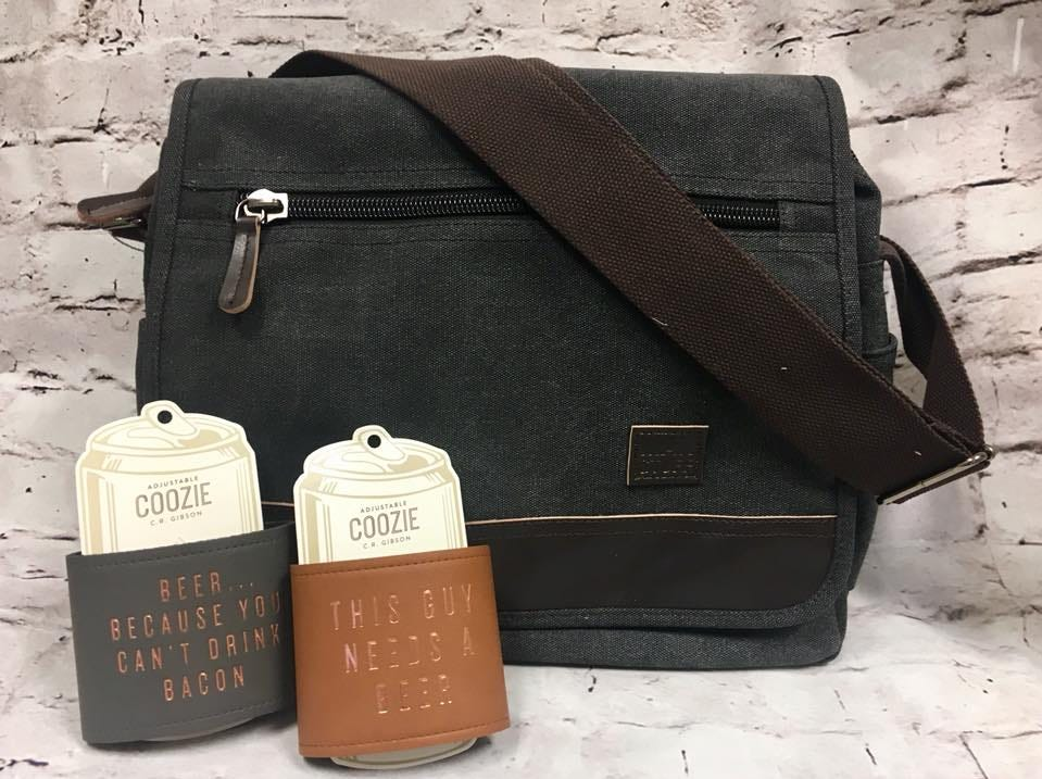 Sleek messenger bag and one of a kind coozies sold at Farmer's Drugs and Gifts
