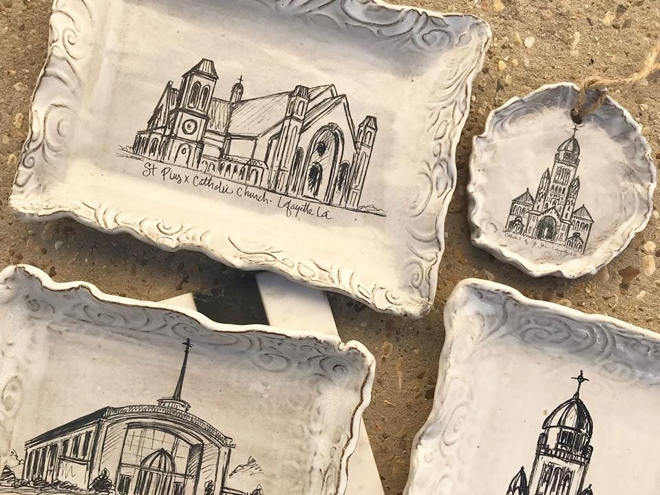 Hand painted plates and ornaments sold at Caroline and Company