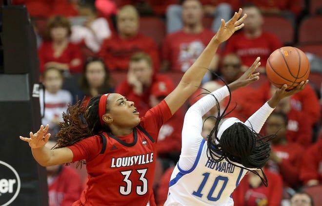Louisville's Bionca Dunham guards Kentucky's Rhyne Howard. Dec. 9, 2018