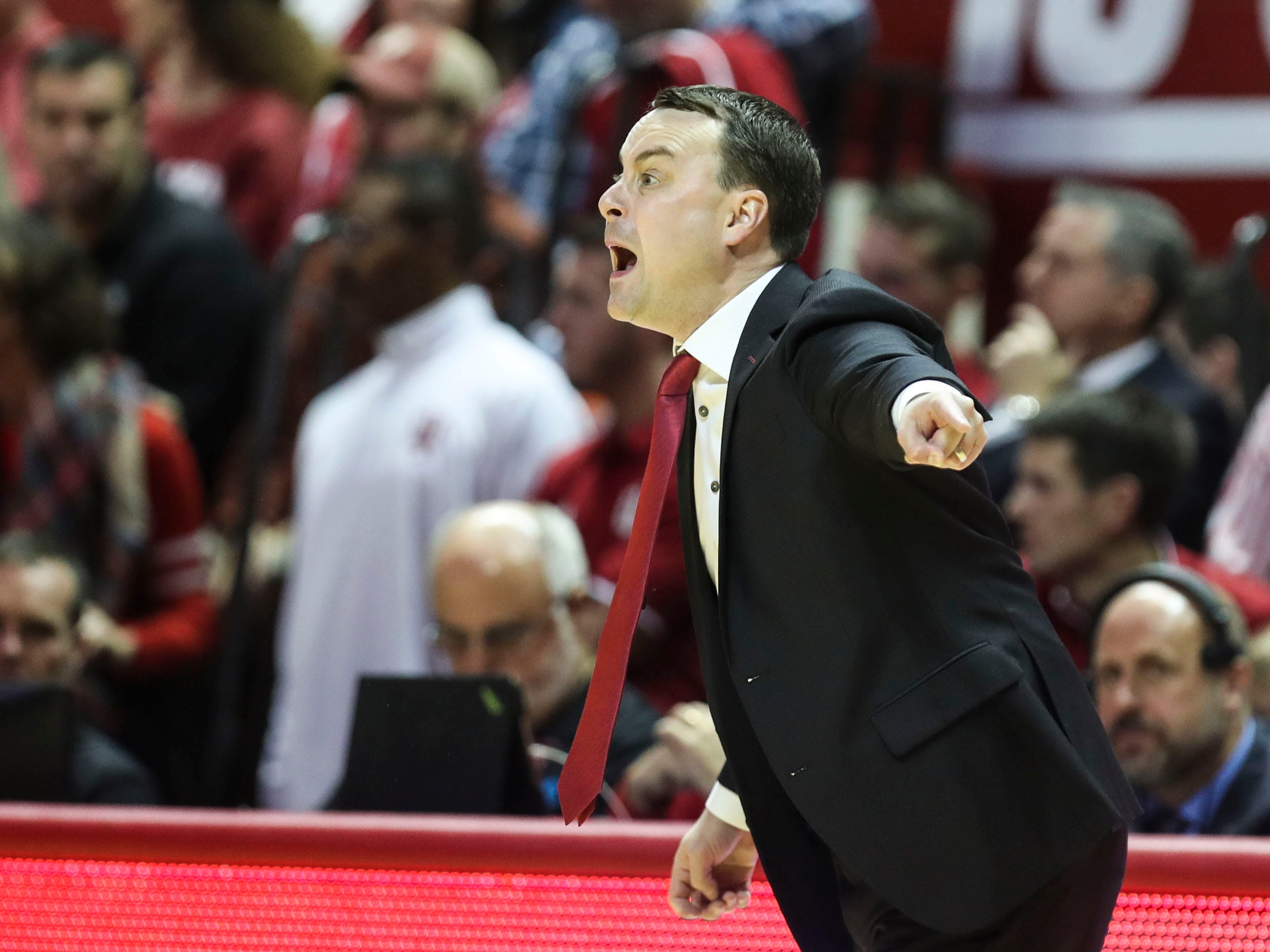 Archie Miller of Indiana wasn't happy early in the first half as Louisville jumped out to an early lead. But the Hoosiers pushed for points inside and beat Louisville 68-67 Saturday, Dec. 8, 2018.