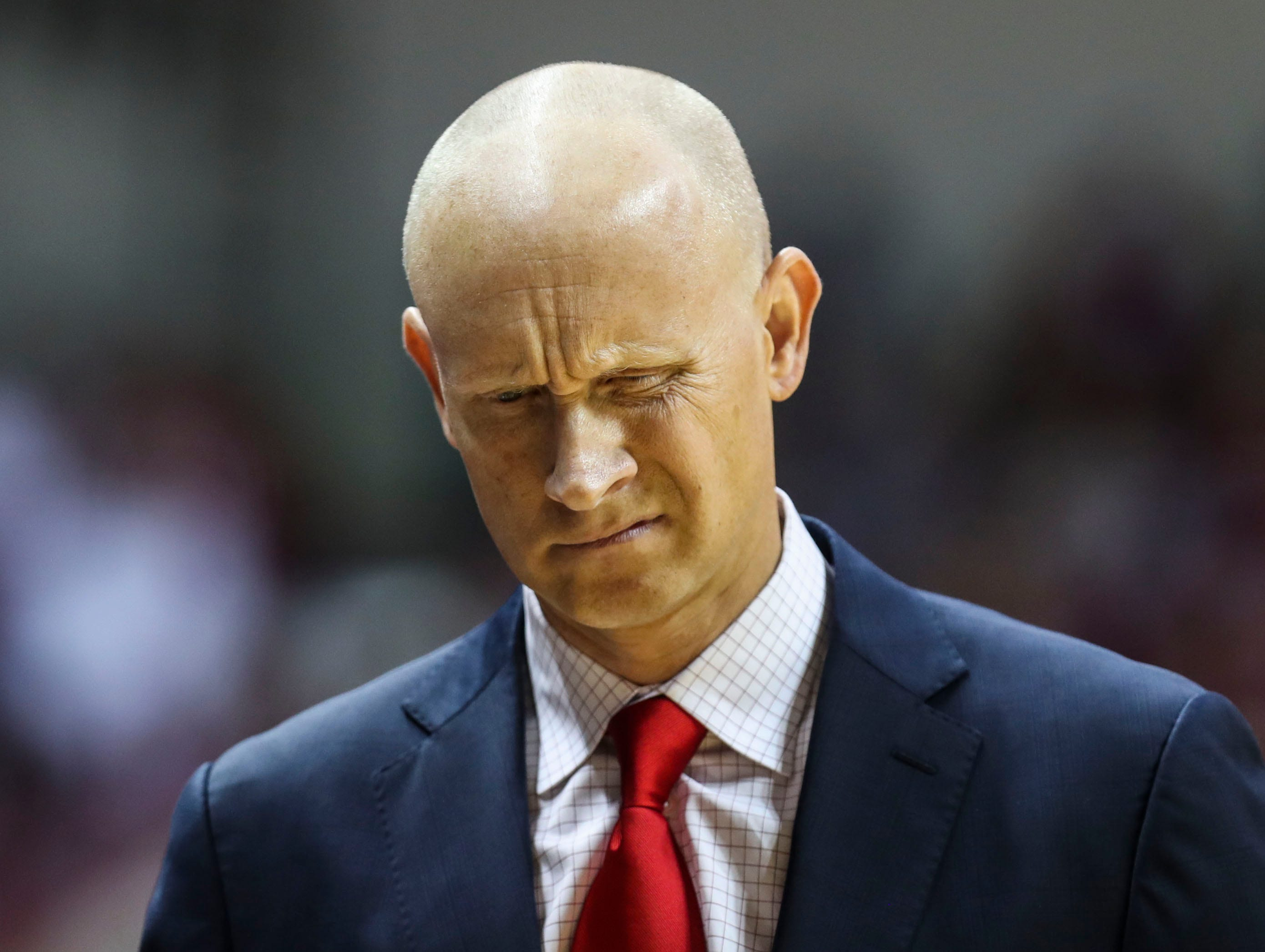 Louisville's Chris Mack reacts during the game against Indiana Saturday, Dec. 8, 2018.