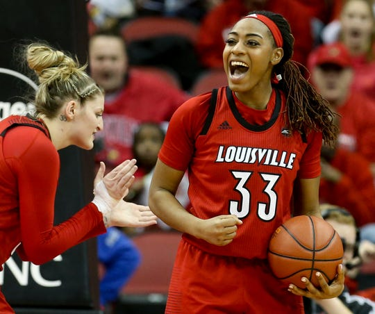 Louisville's Bionca Dunham celebrates.