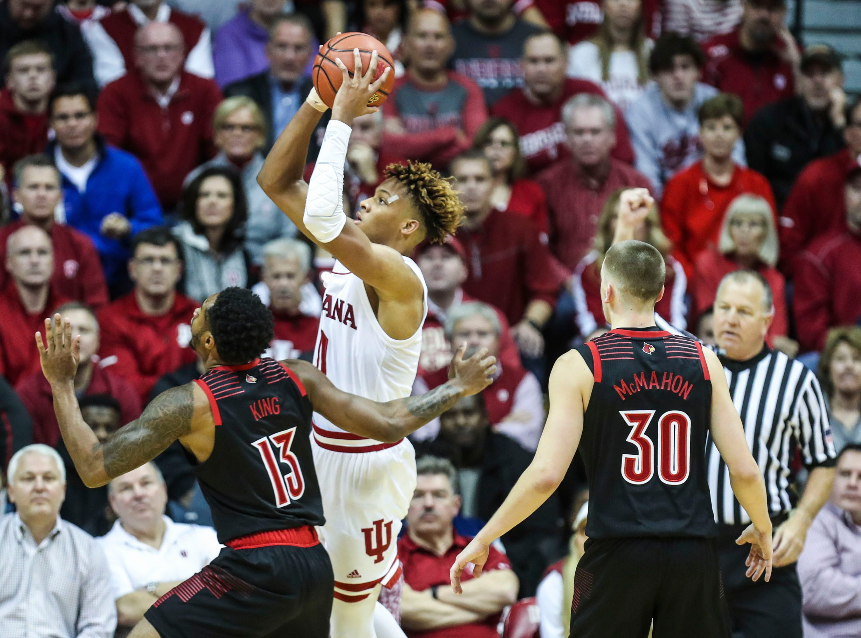 Indiana's Romeo Langford scored 21 points against Louisville Saturday, Dec. 8, 2018.