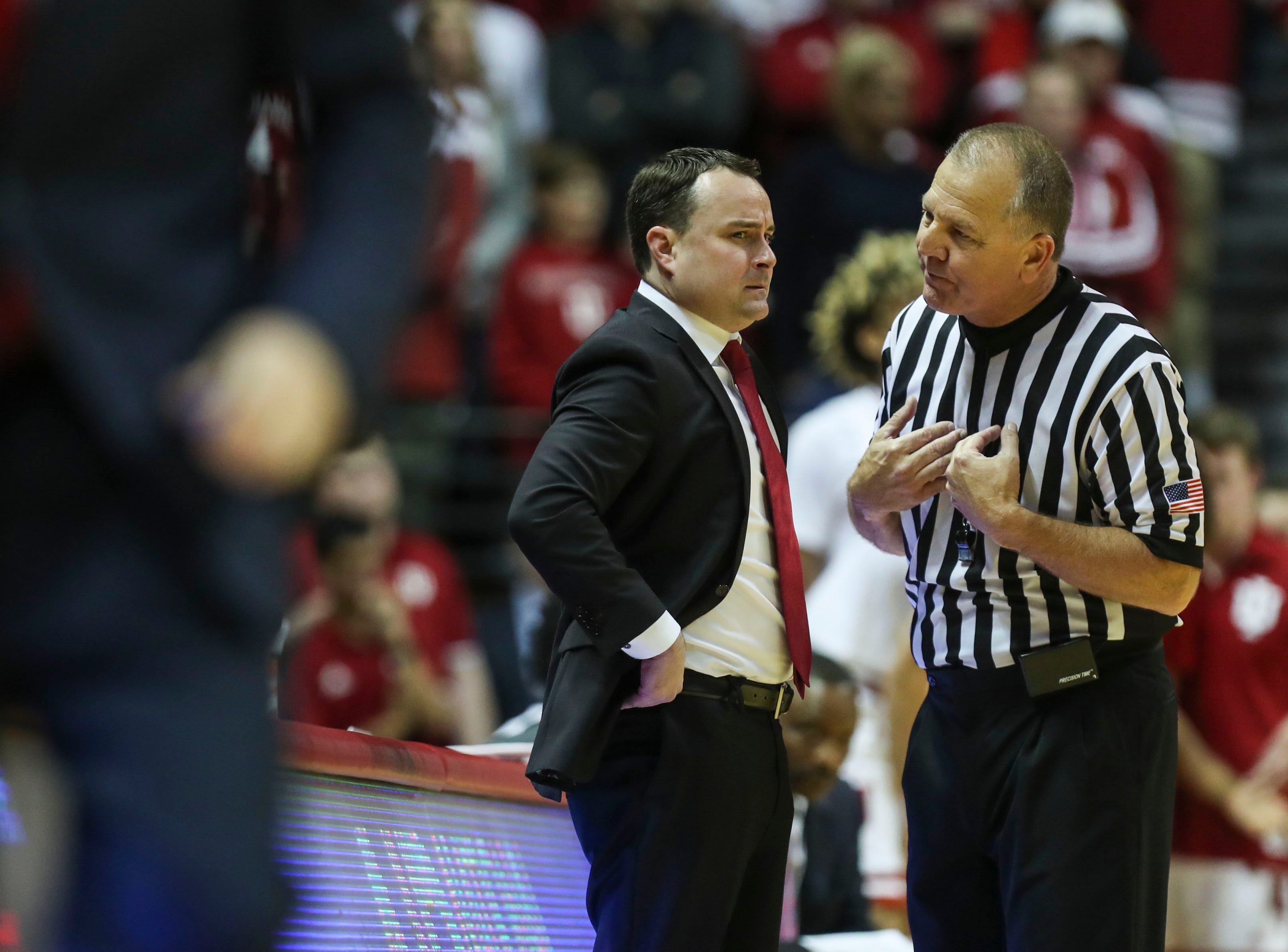 Indiana's Archie Miller wasn't happy with an official's explanation of a call during the second half Saturday, Dec. 8, 2018 at Simon Skjodt Assembly Hall in Bloomington, Ind.