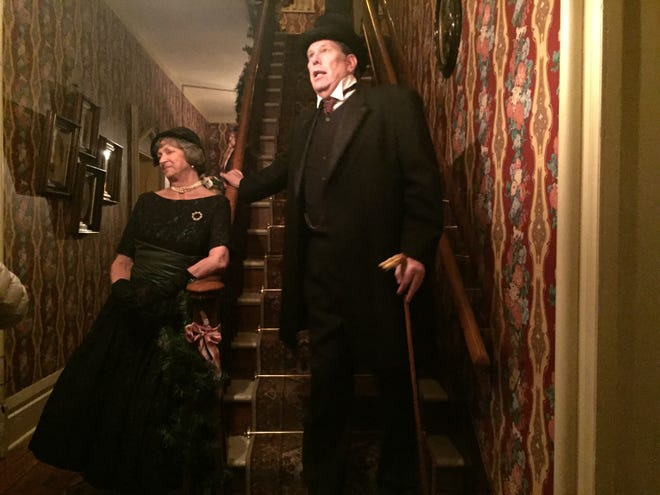 Dottie Kasper and Jeff Mandeville portray Ruth Grimm and John Robinson at Ghosts of Christmas Past at Oak Hill Cottage.