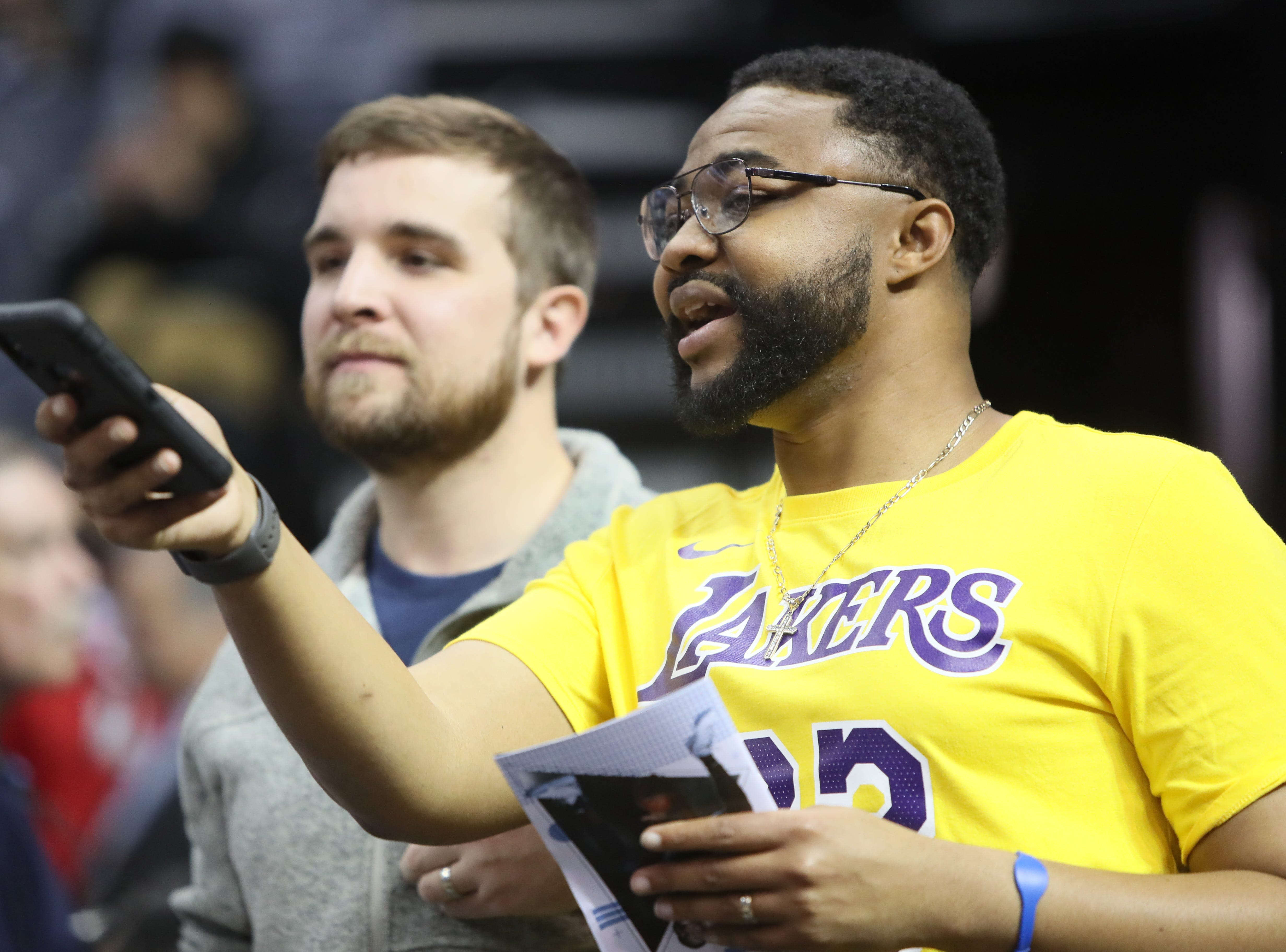Fans cheer on the Memphis Grizzlies and Los Angeles Lakers during their game at the FedExForum on Saturday, Dec. 8, 2018.