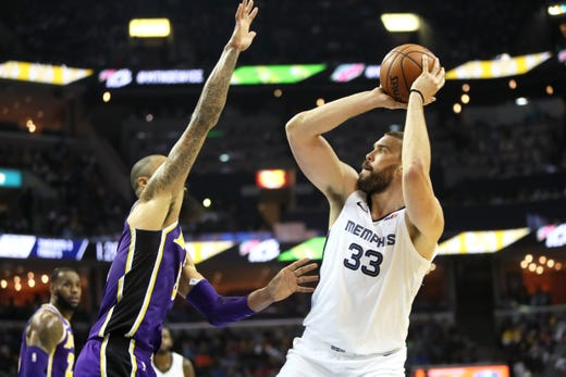 Memphis Grizzlies center Marc Gasol shoots the ball against Los Angeles Lakers defender Tyson Chandler at the FedExForum on Saturday, Dec. 6, 2018.